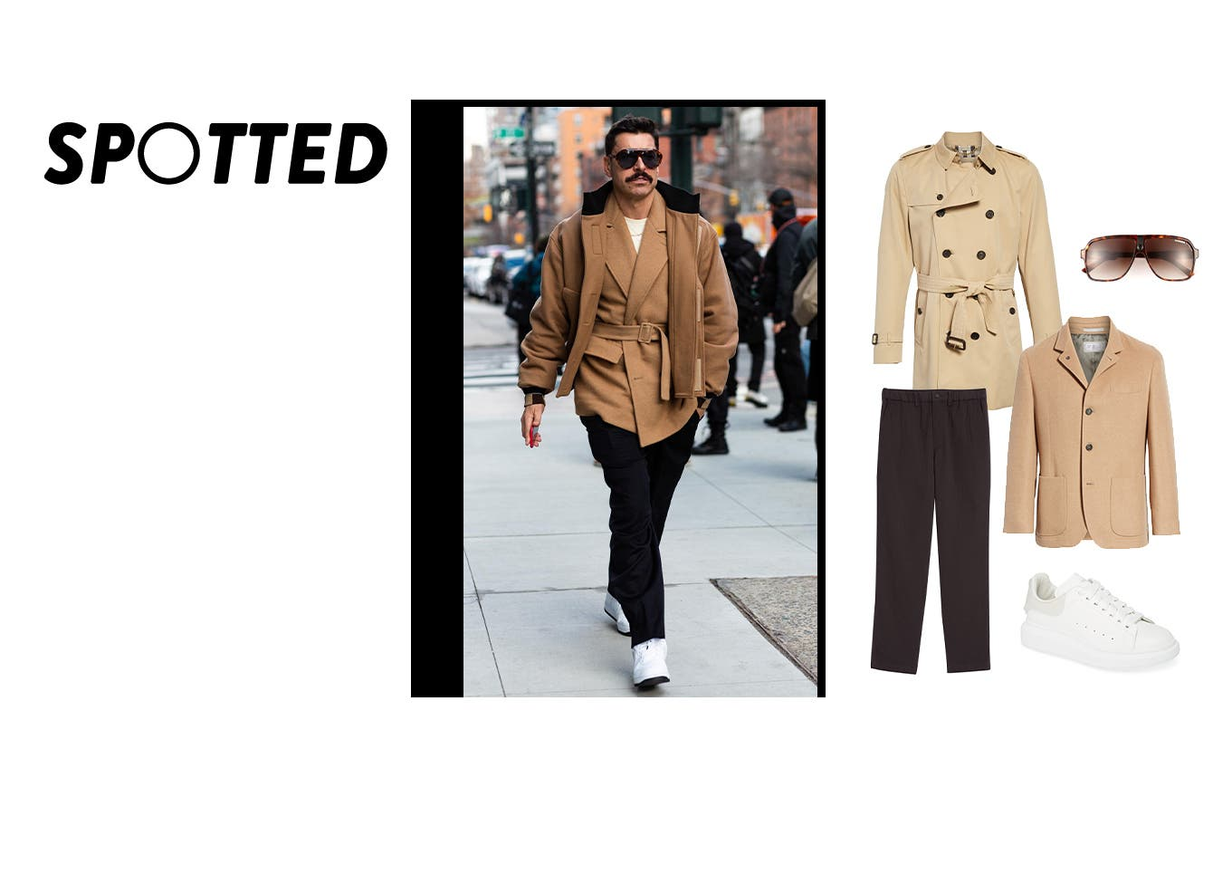 Double-beige street style spotted at men's Fashion Week.