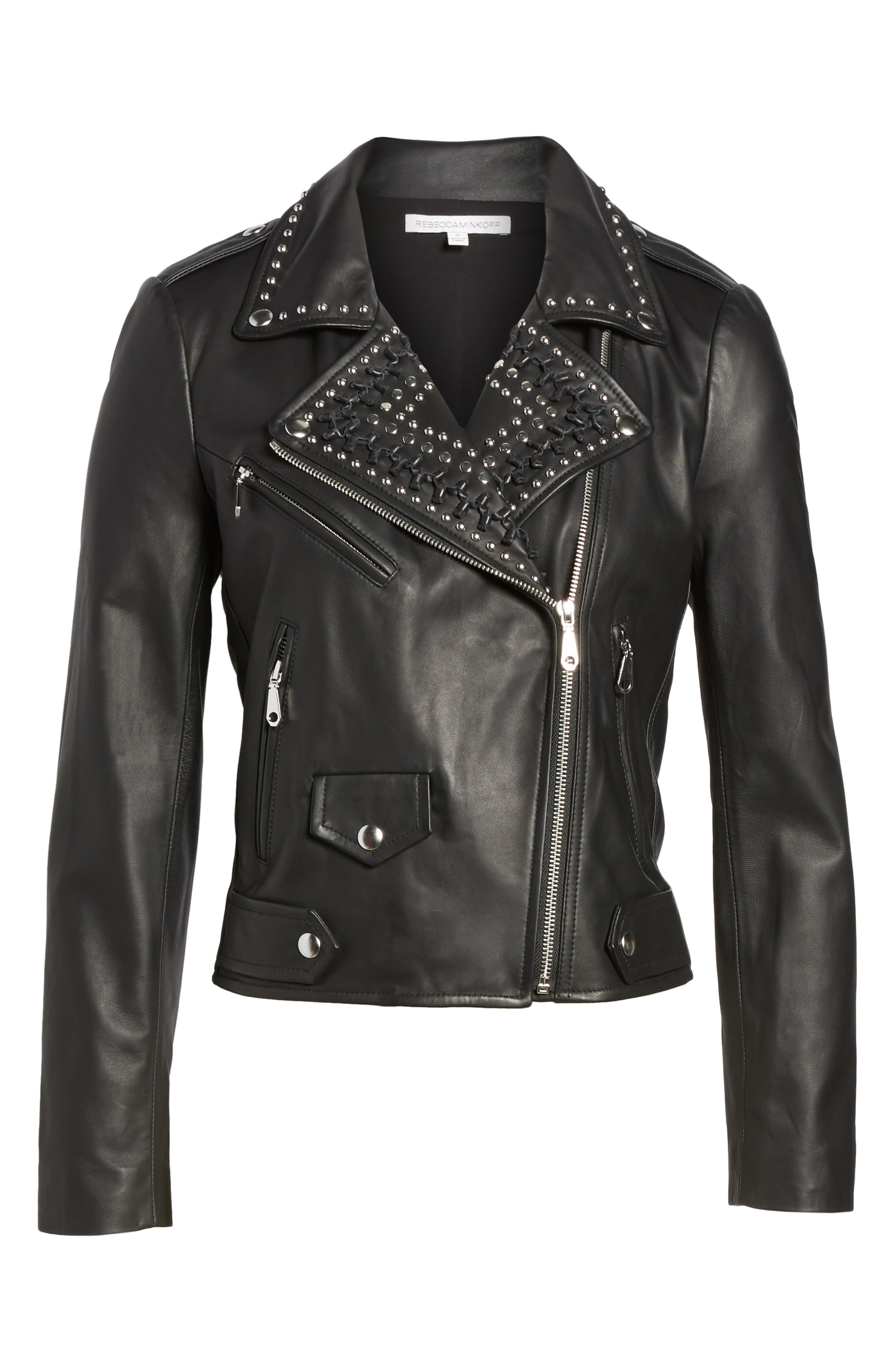 Wes Leather Moto Jacket,                             Alternate thumbnail 6, color,                             001