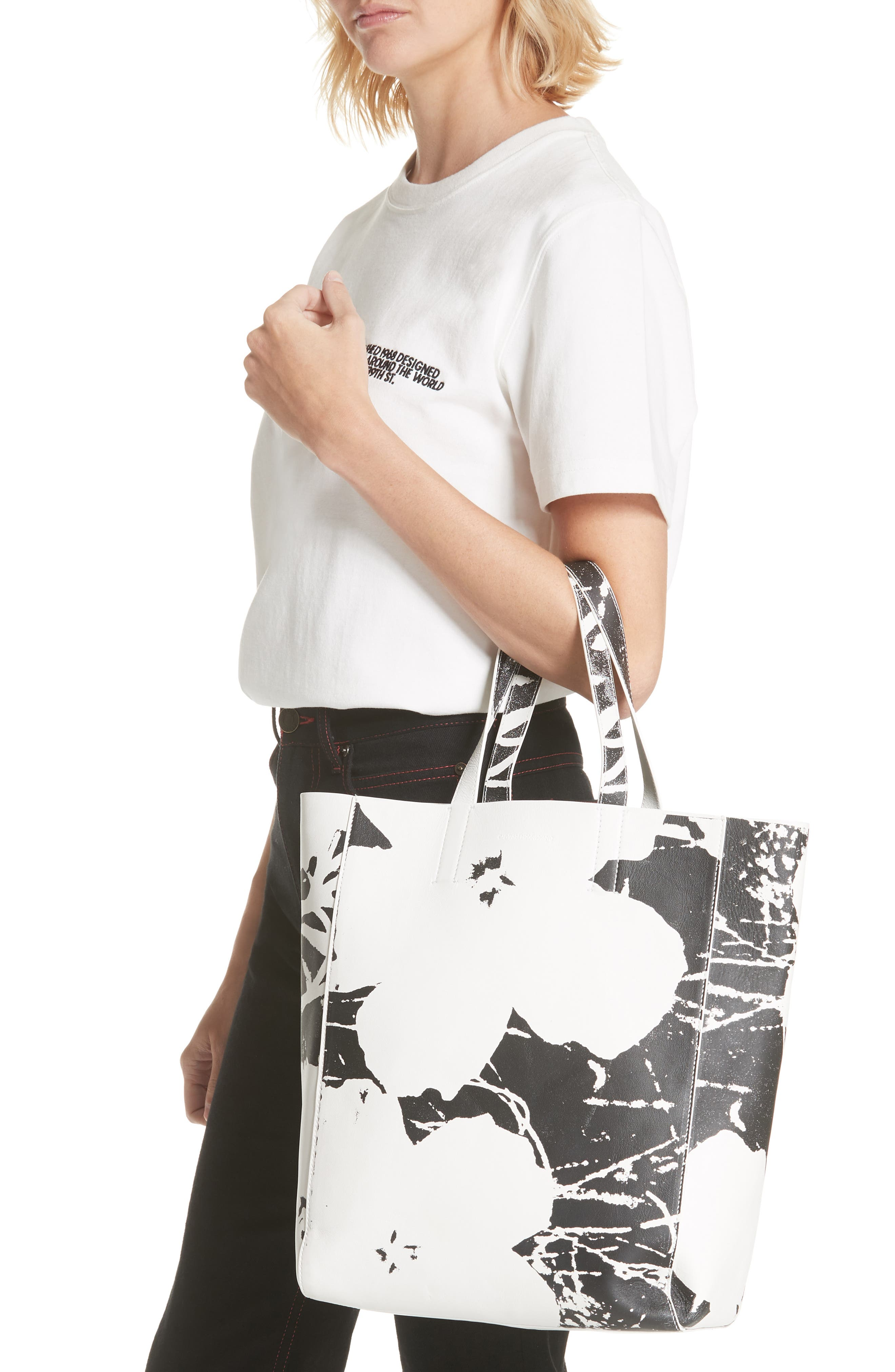 x Andy Warhol Foundation Flowers Leather Tote,                             Alternate thumbnail 2, color,                             WHITE/ BLACK
