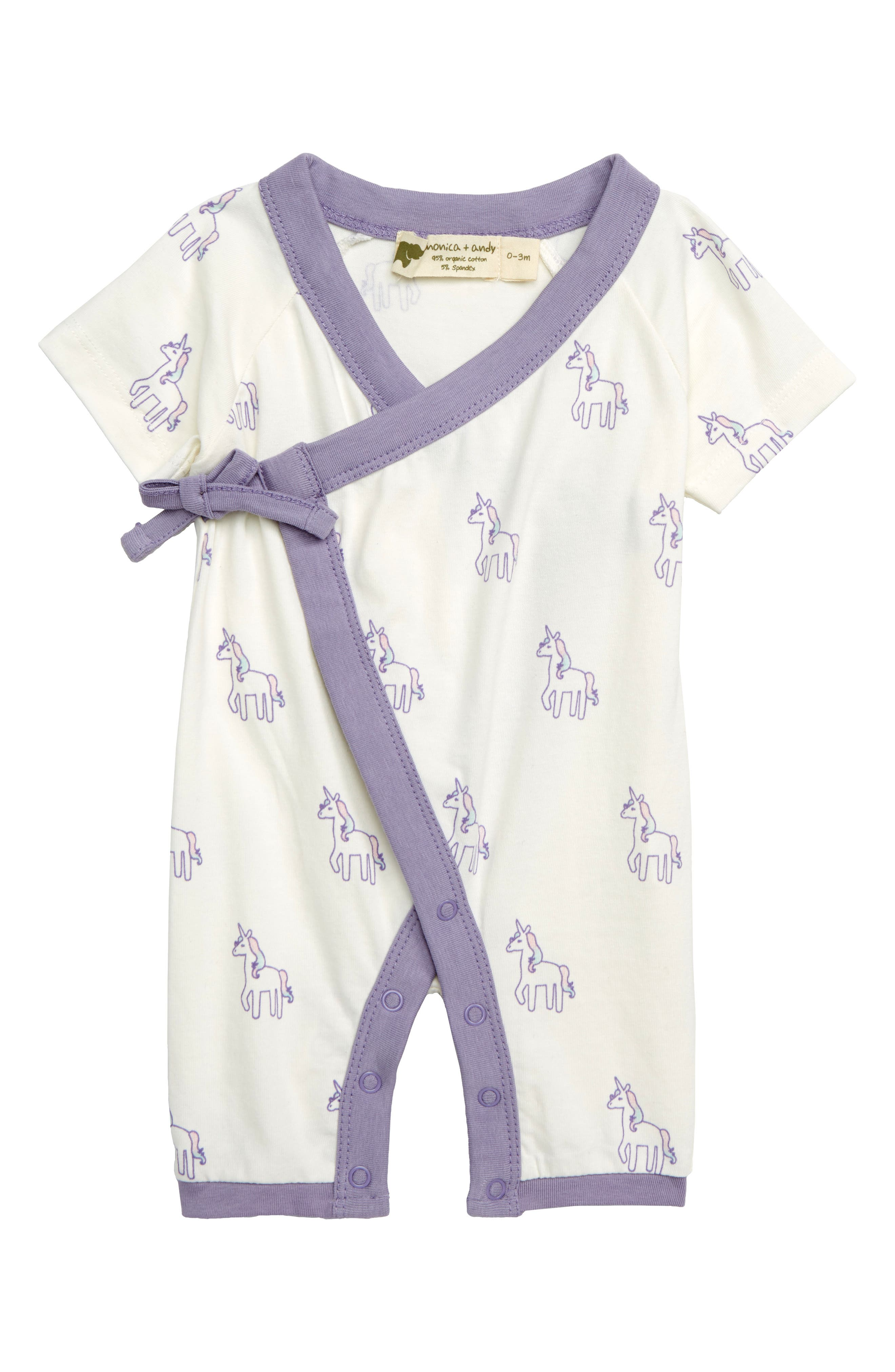 MONICA + ANDY Sweet Baby Wrap Romper, Main, color, 100