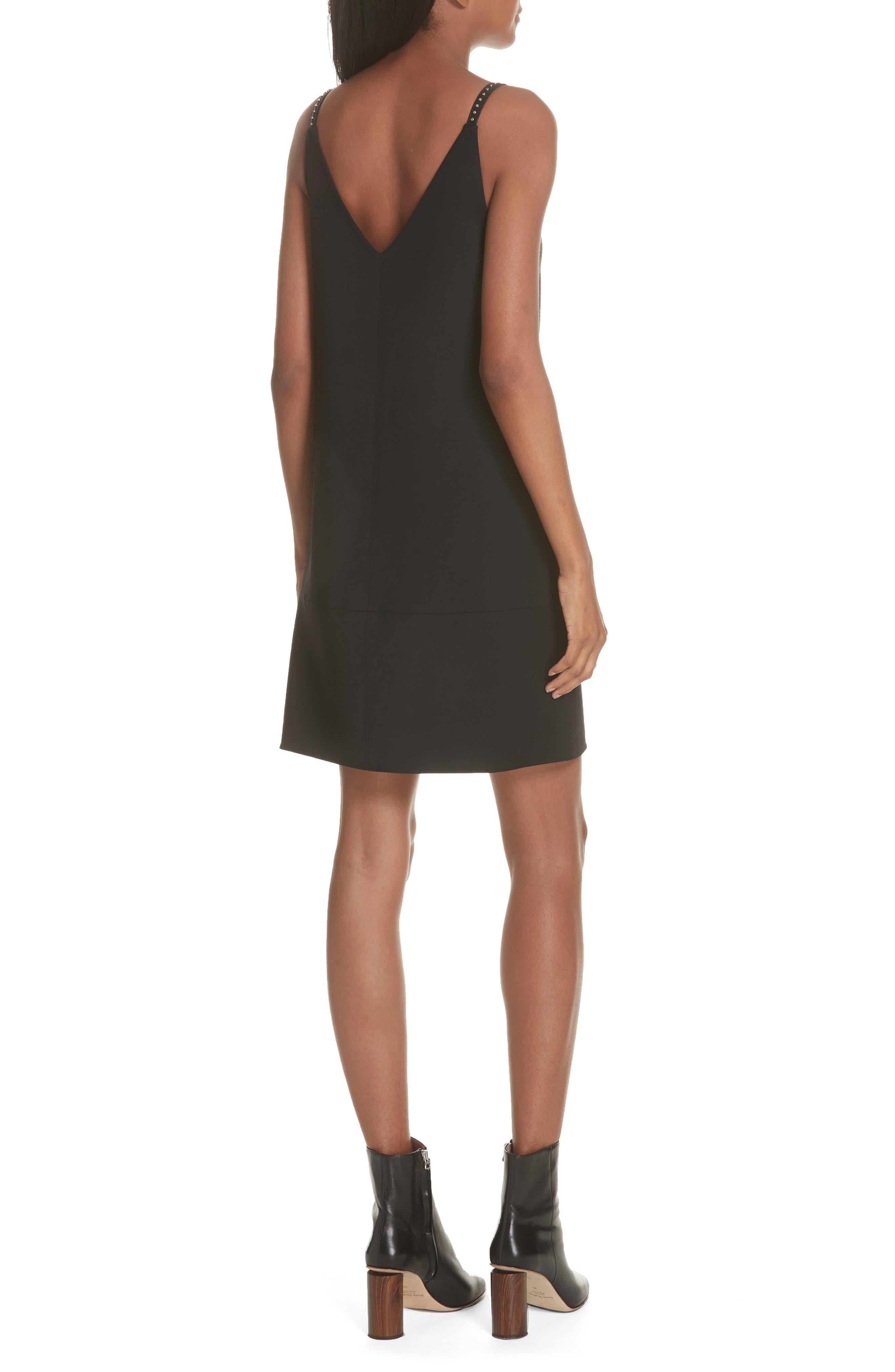 Studded Camisole Dress,                             Alternate thumbnail 2, color,                             BLACK