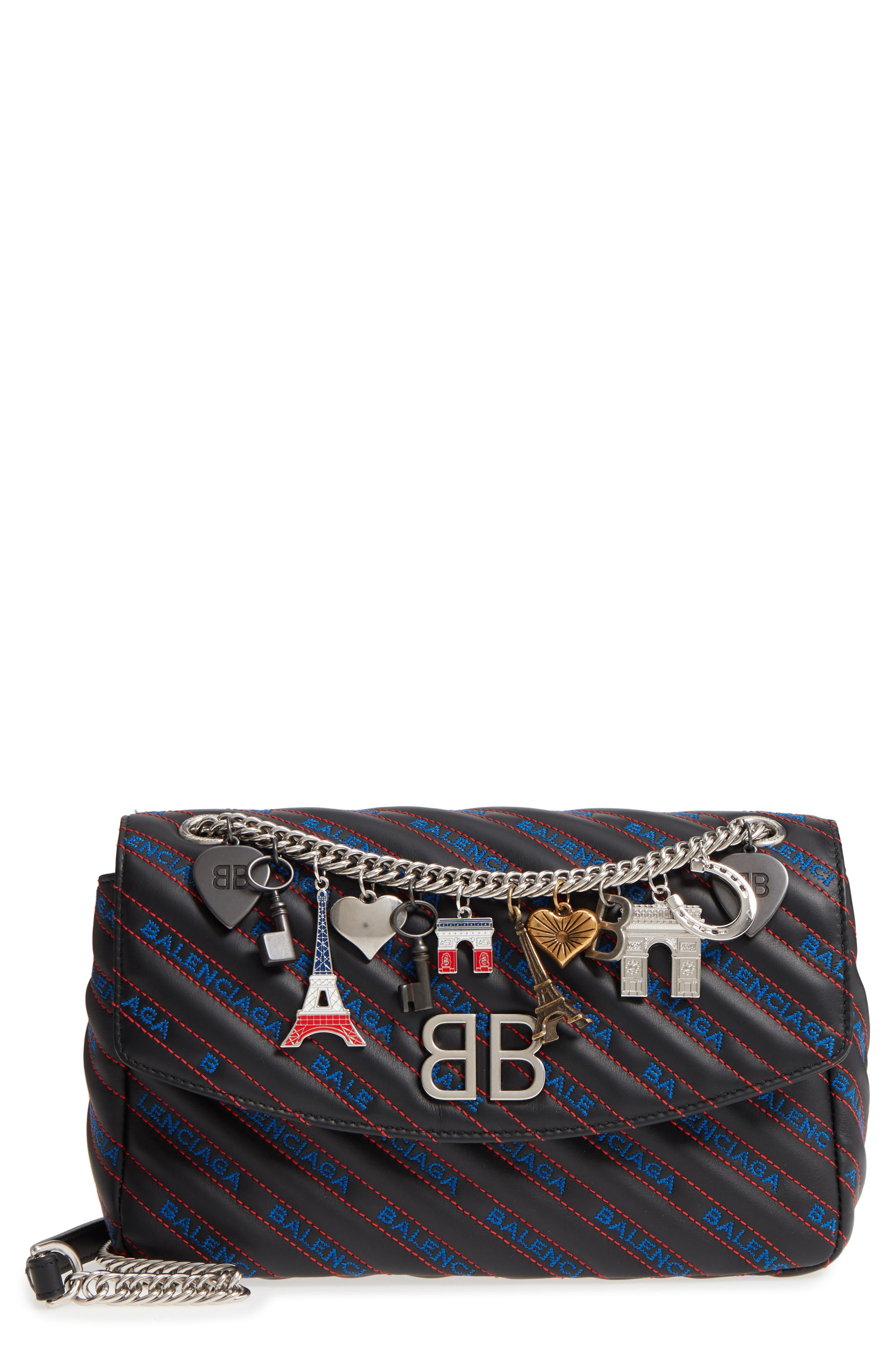 Medium BB Round Logo Charm Crossbody Bag,                             Main thumbnail 1, color,                             NOIR/ BLEU/ ROUGE