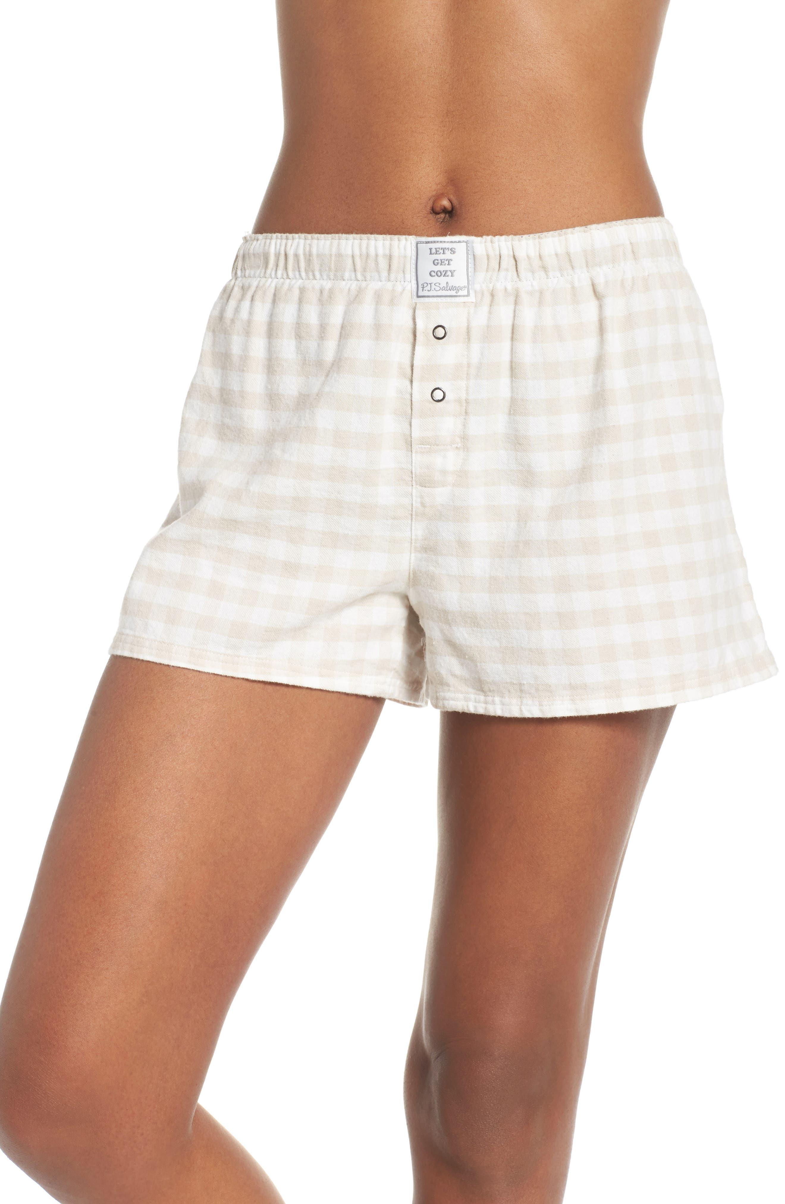 Gingham Pajama Shorts,                             Main thumbnail 1, color,                             CHAMPAGNE