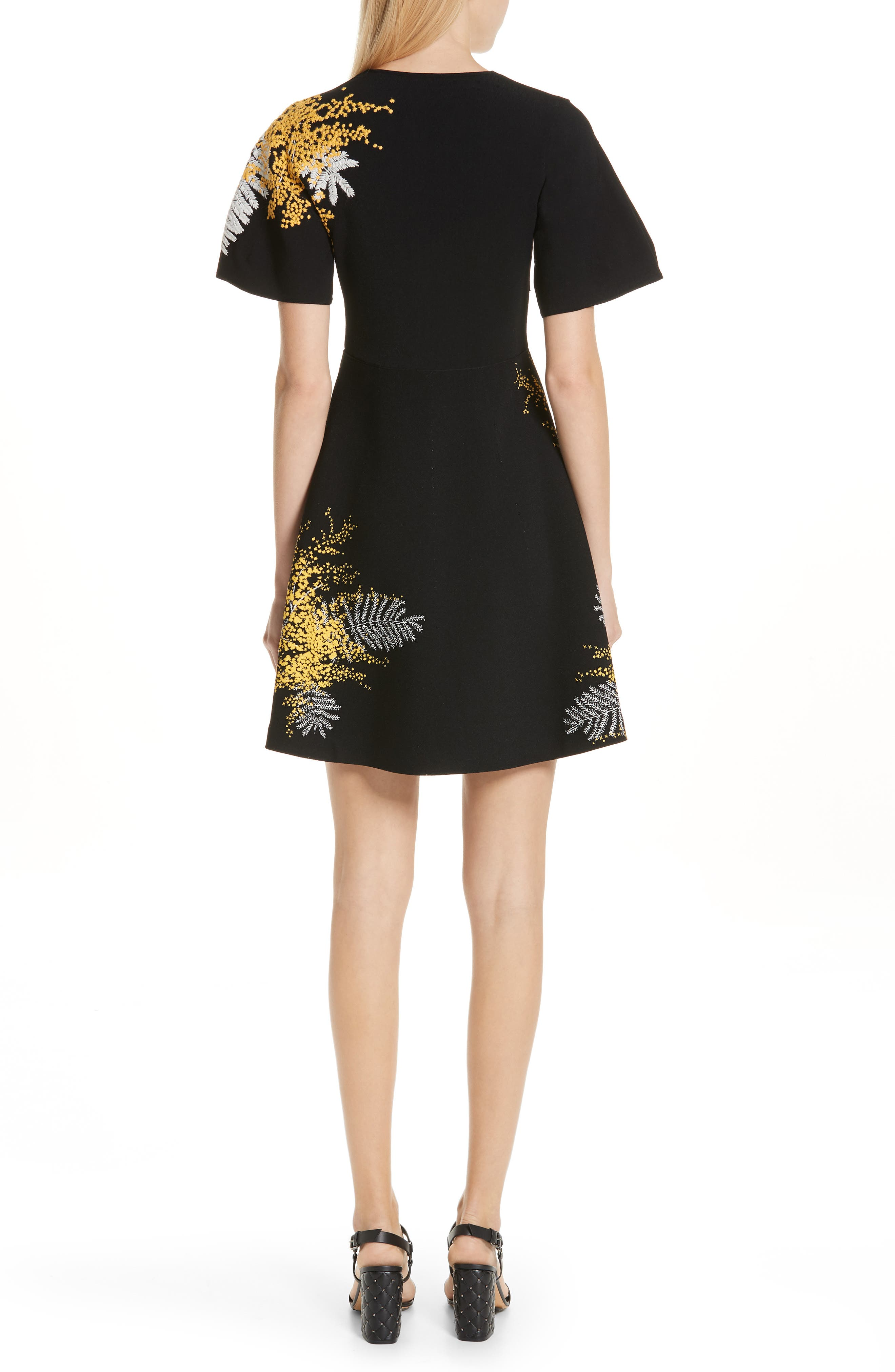 Mimosa Embroidered Fit & Flare Dress,                             Alternate thumbnail 2, color,                             BLACK/ MULTI COLOR