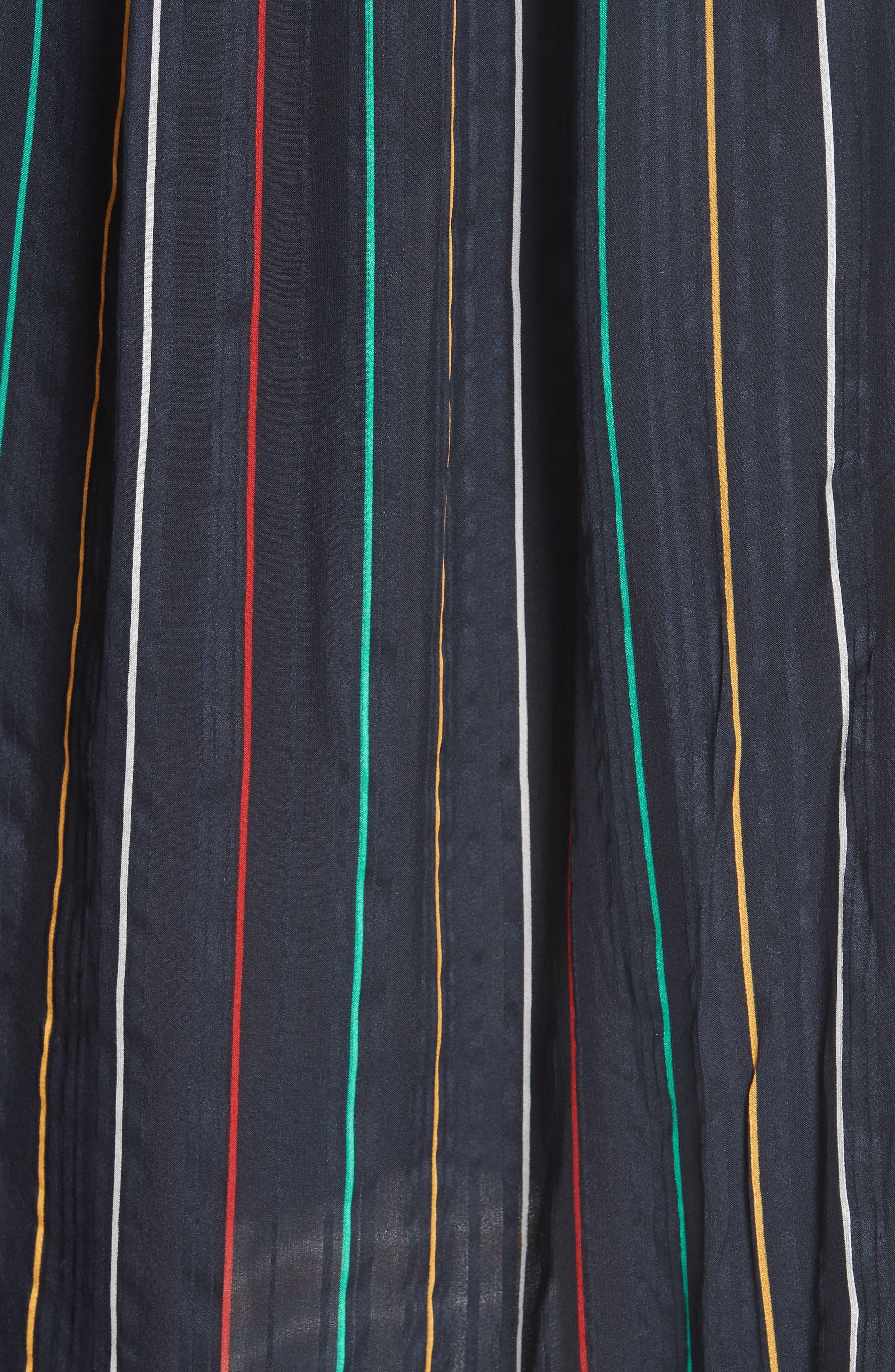 Austin Stripe Silk Midi Dress,                             Alternate thumbnail 5, color,                             BLACK STRIPE