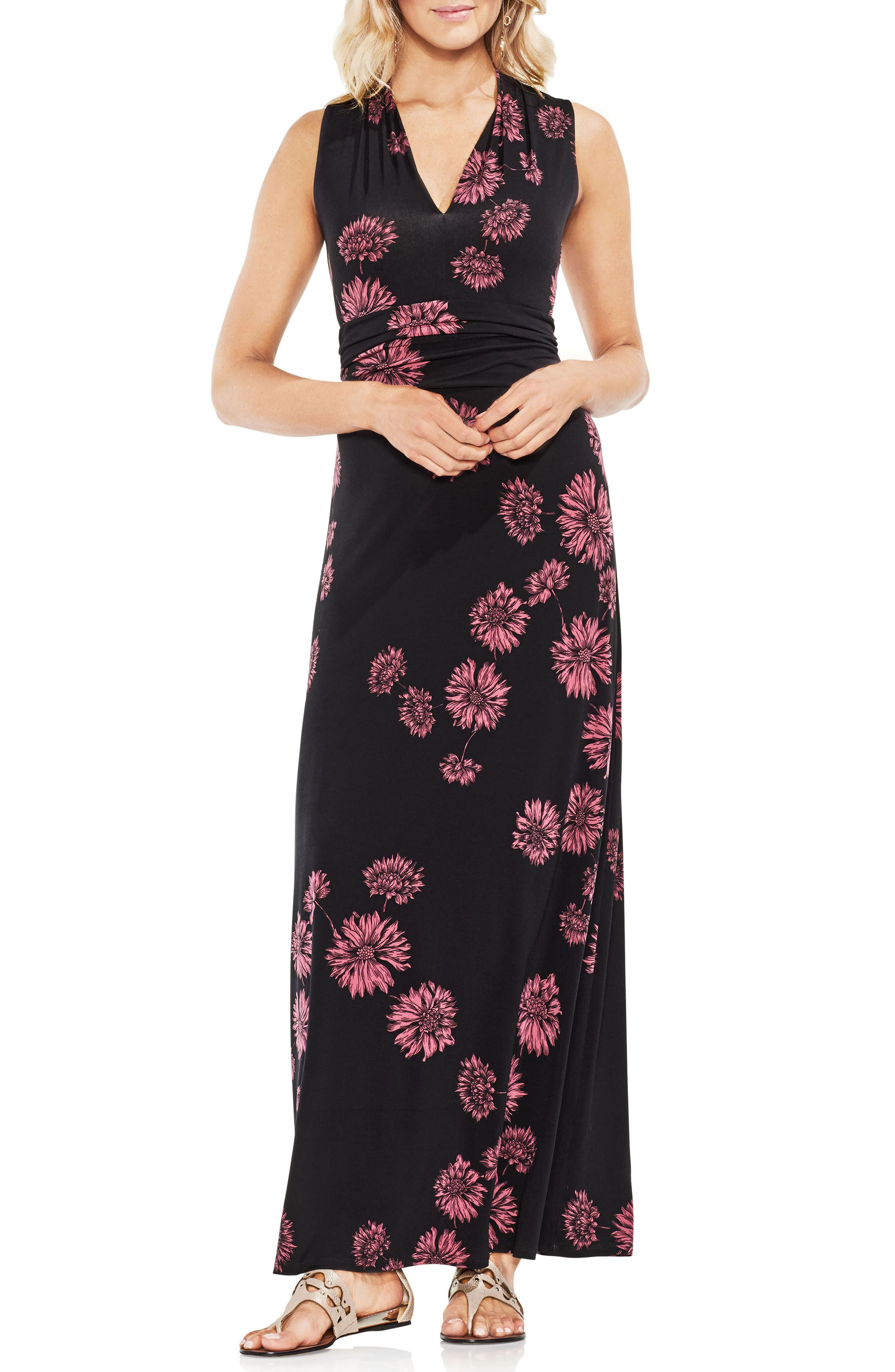 Chateau Floral Halter Maxi Dress,                             Main thumbnail 1, color,