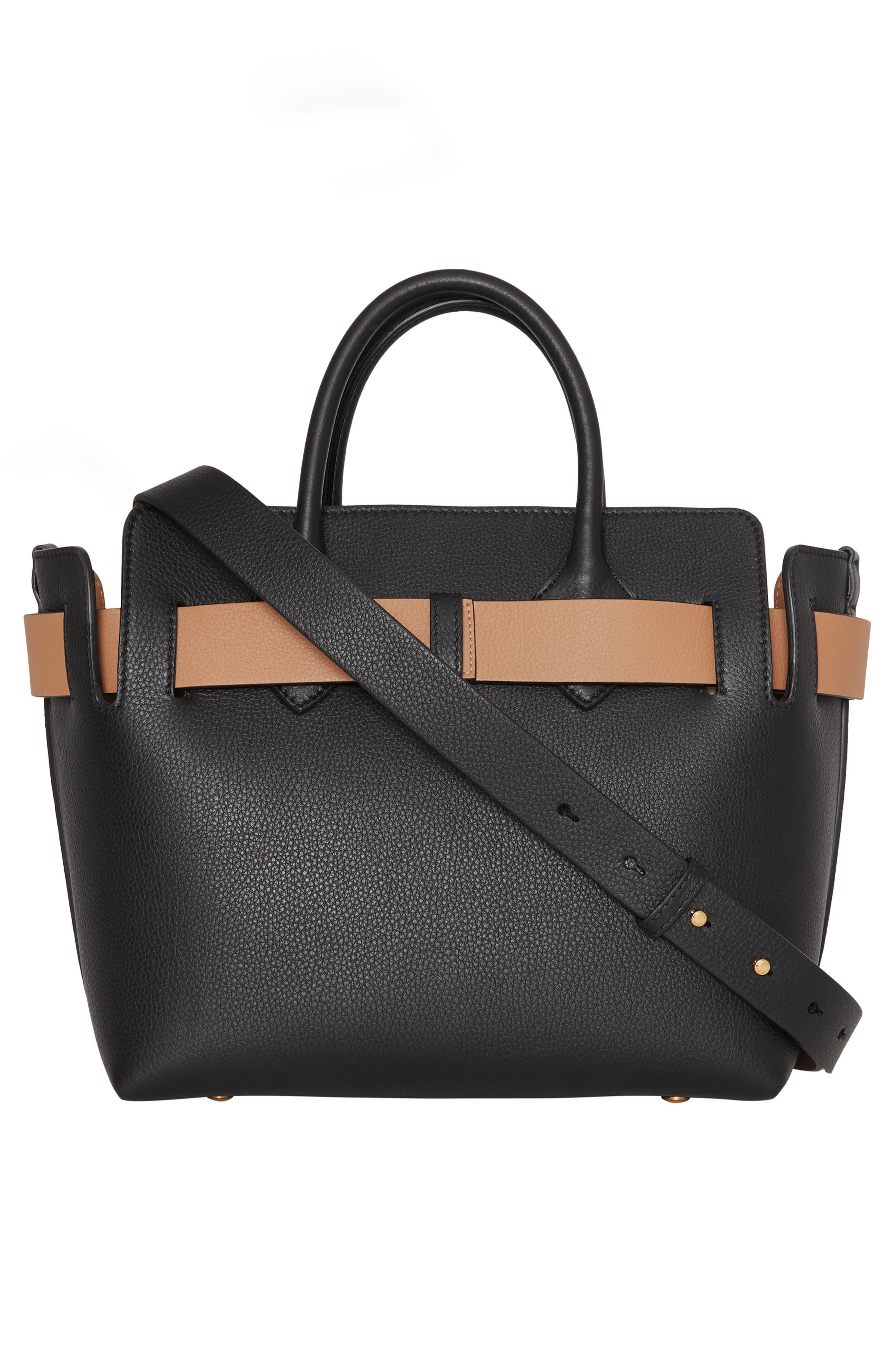 BURBERRY,                             Small Belt Leather Satchel,                             Alternate thumbnail 2, color,                             BLACK