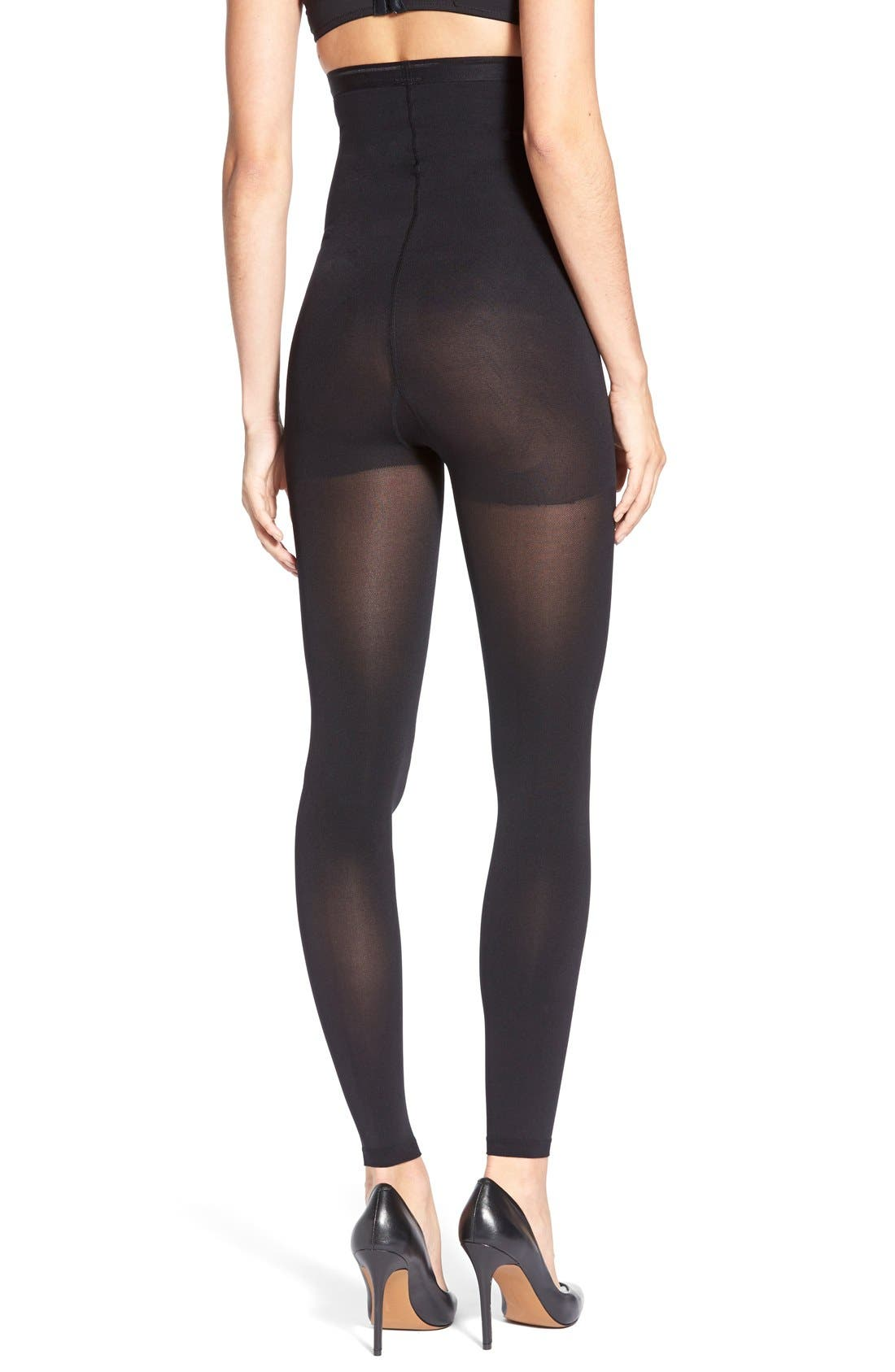 High Rise Opaque Footless Shaping Tights,                             Alternate thumbnail 2, color,                             BLACK