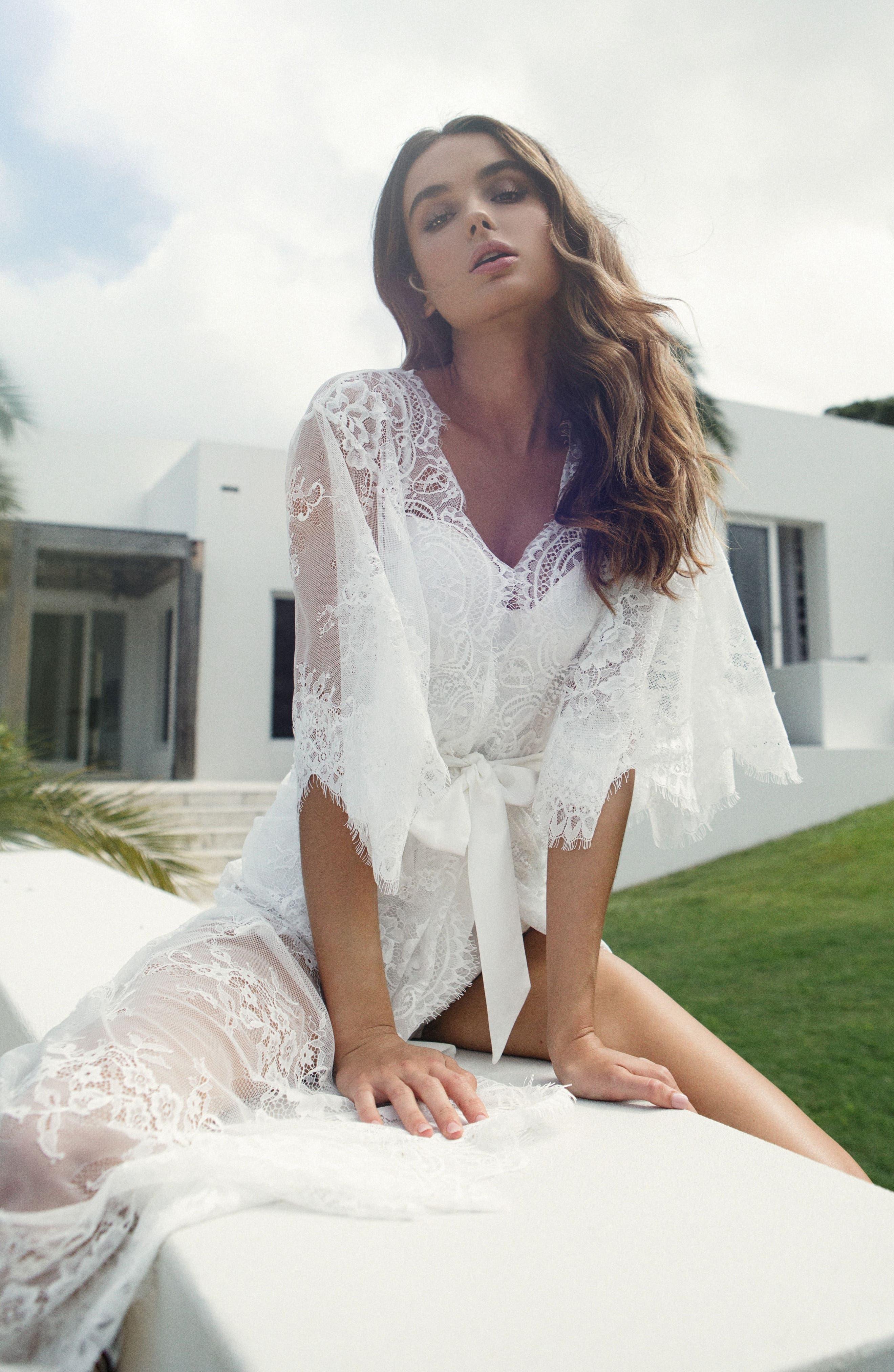 Kassiah Short Lace Wrap,                             Alternate thumbnail 7, color,                             WHITE