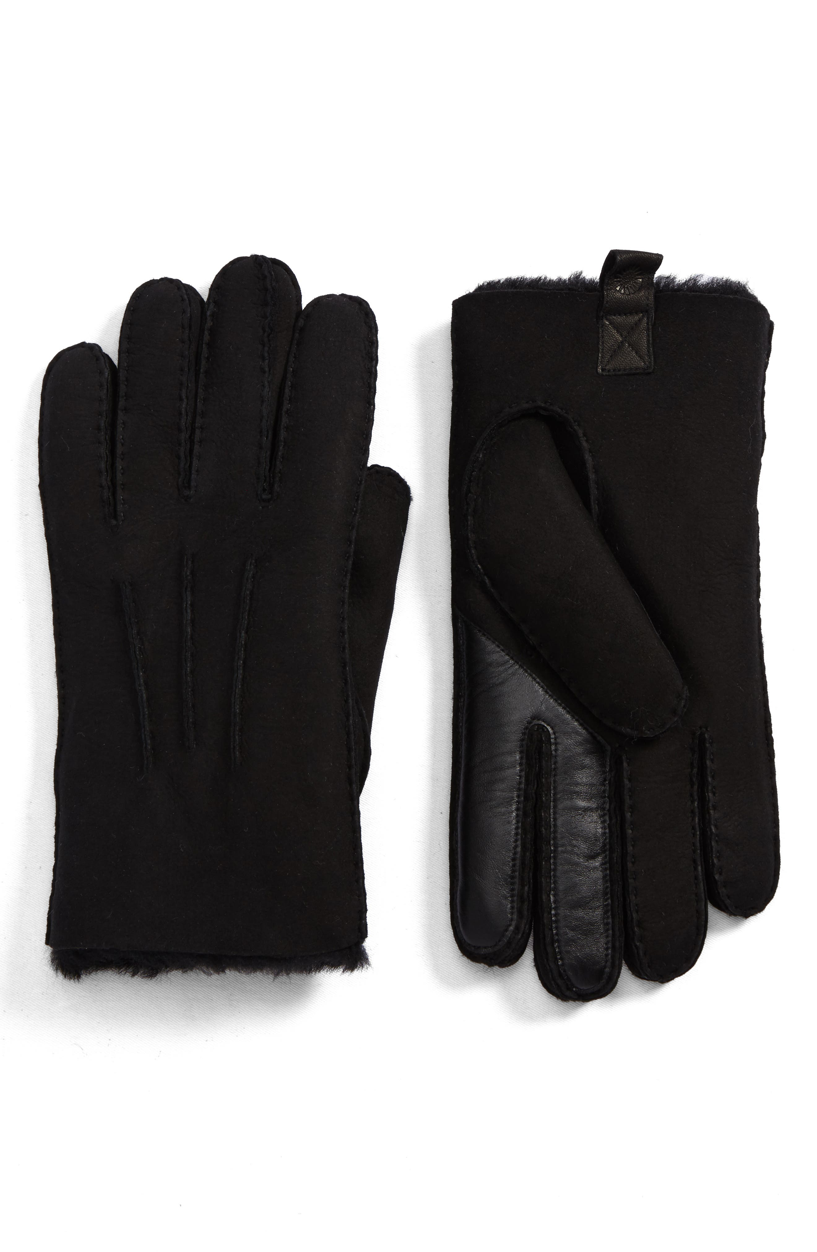 UGG Smart Sheepskin Shearling Leather Gloves,                         Main,                         color, 001