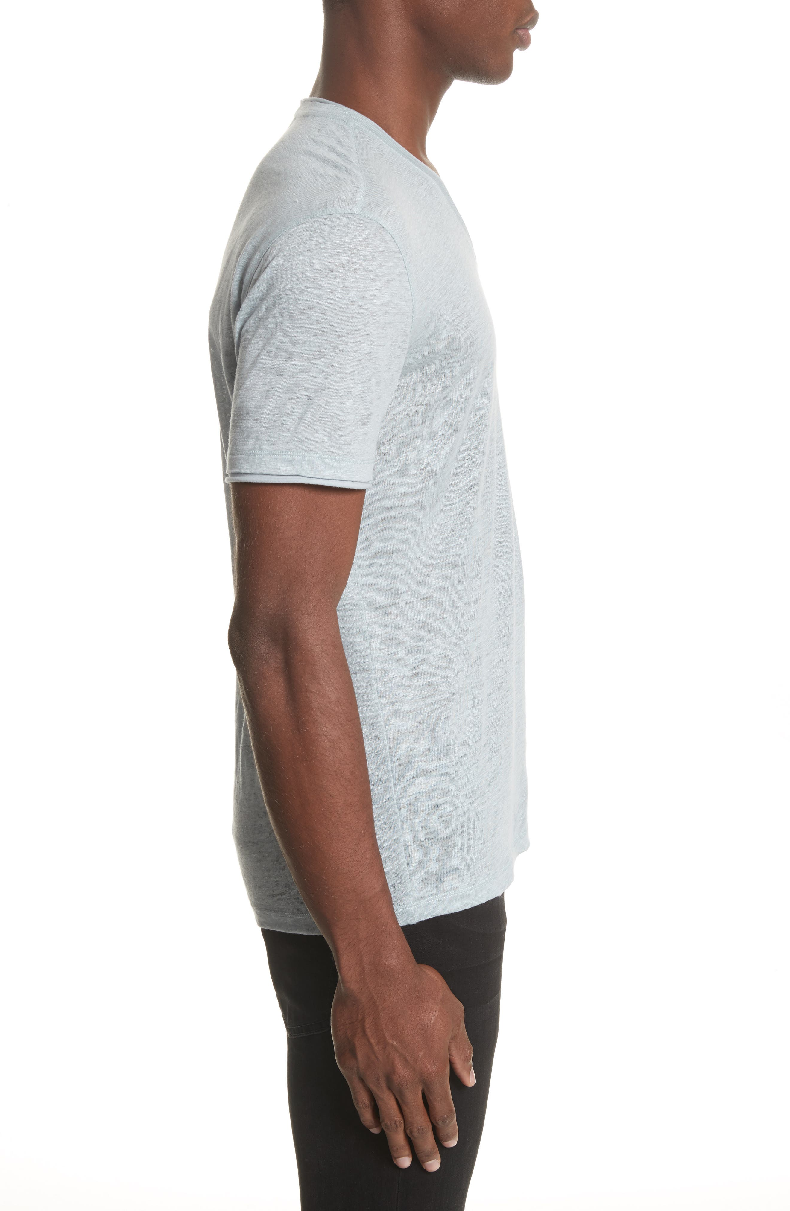 Linen V-Neck T-Shirt,                             Alternate thumbnail 3, color,                             431