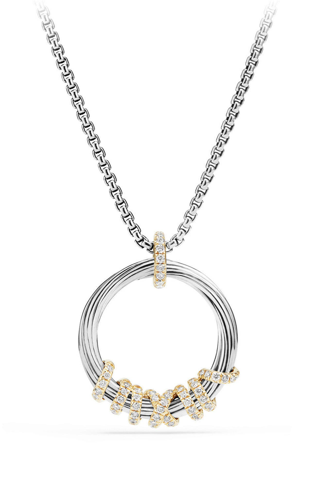 Helena Medium Pendant Necklace with Diamonds & 18K Gold,                             Main thumbnail 1, color,                             SILVER/ GOLD