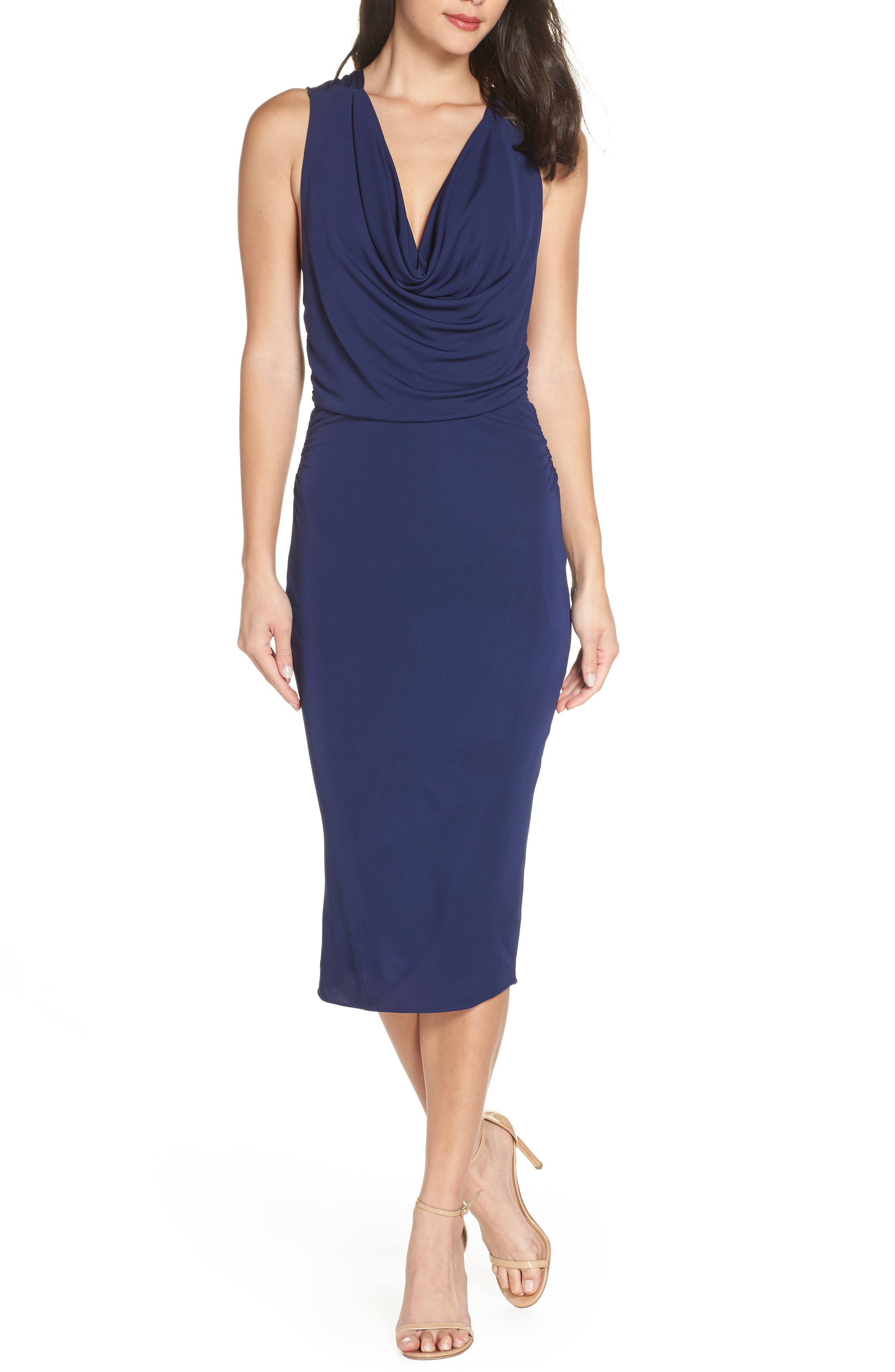 MARIA BIANCA NERO Elise Cowl Neck Sleeveless Dress in Dark Navy