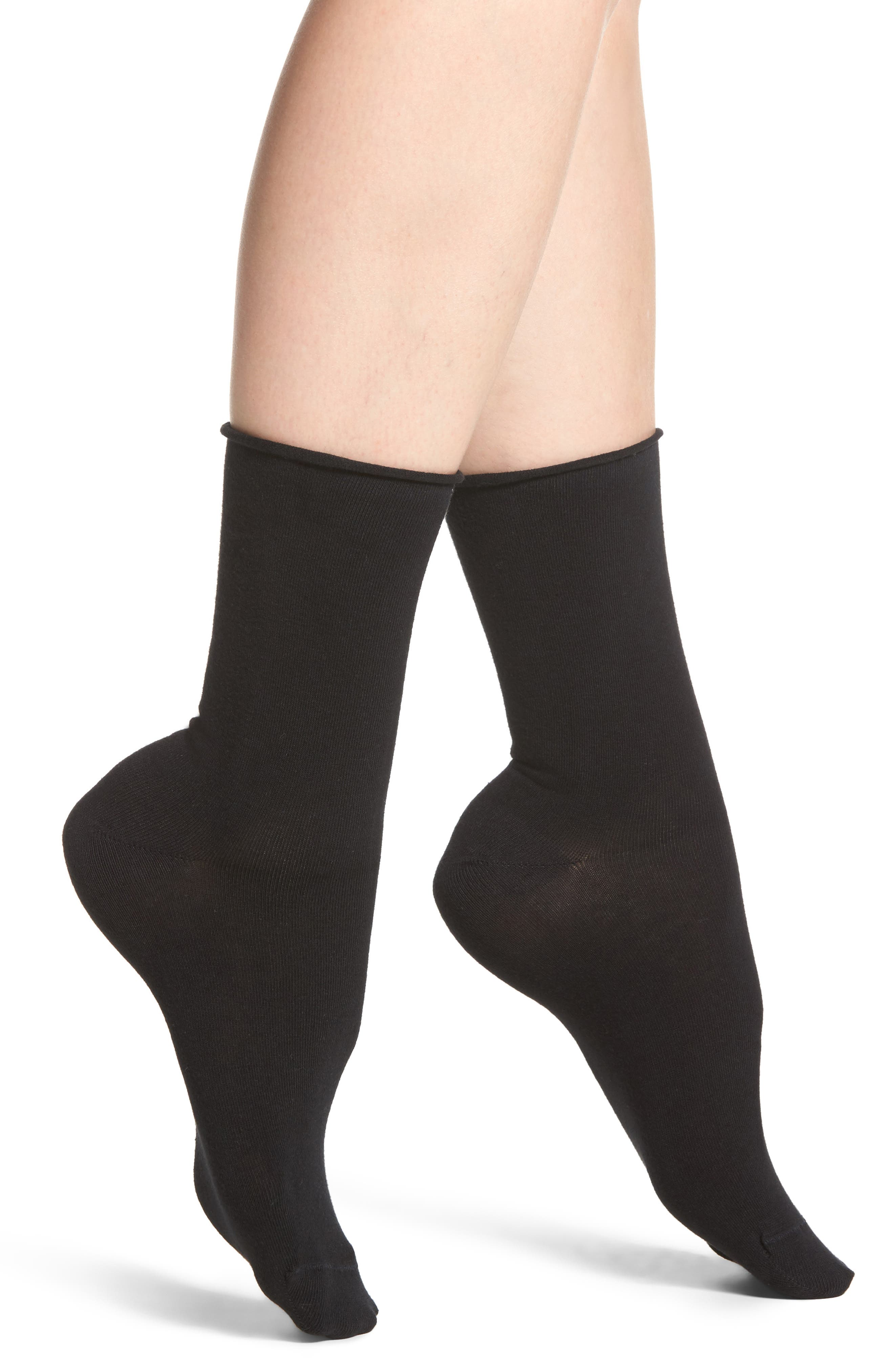 Everyday Roll Top Socks,                             Main thumbnail 1, color,                             BLACK
