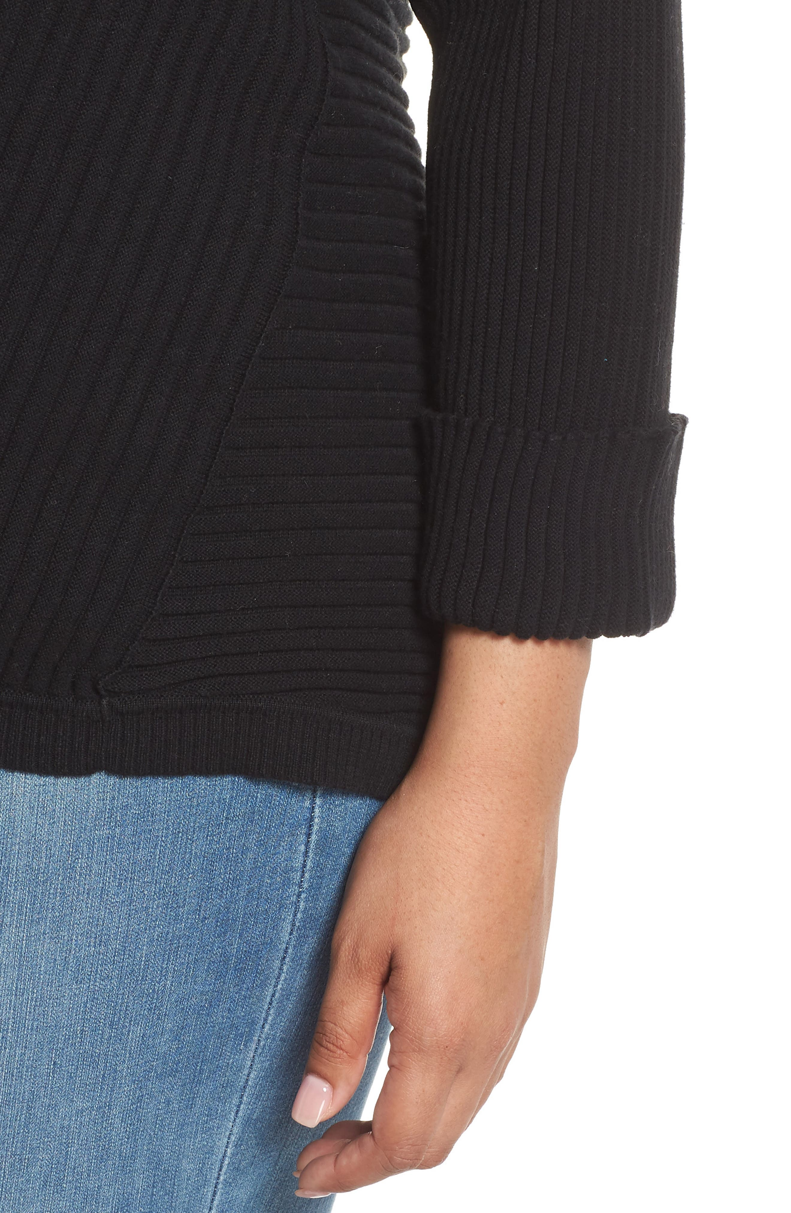Cuff Sleeve Ribbed Sweater,                             Alternate thumbnail 4, color,                             BLACK