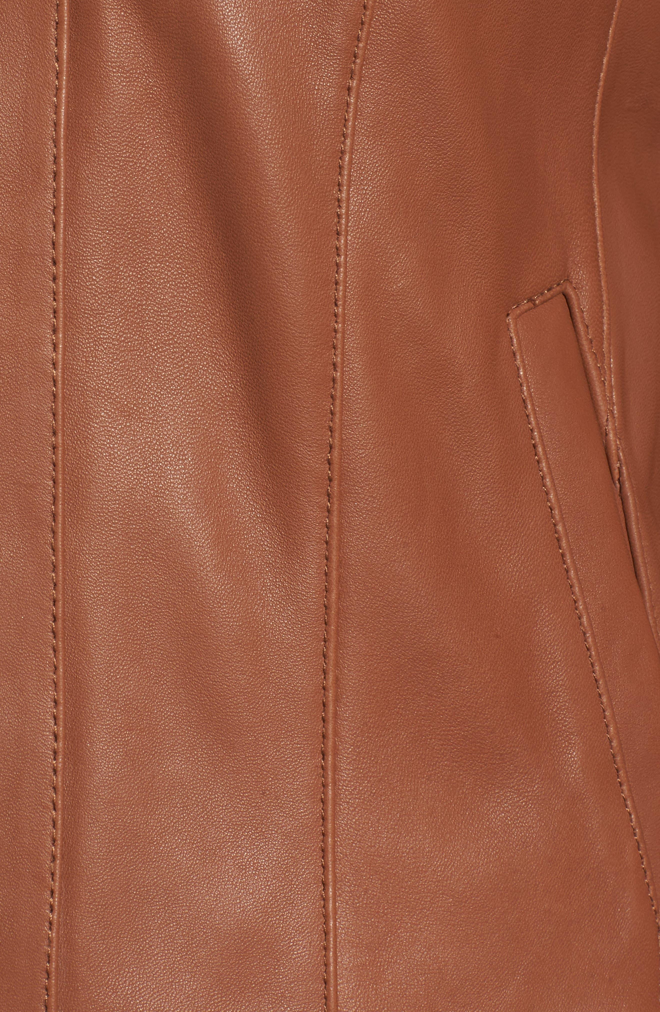Leather Moto Jacket,                             Alternate thumbnail 6, color,                             NO_COLOR