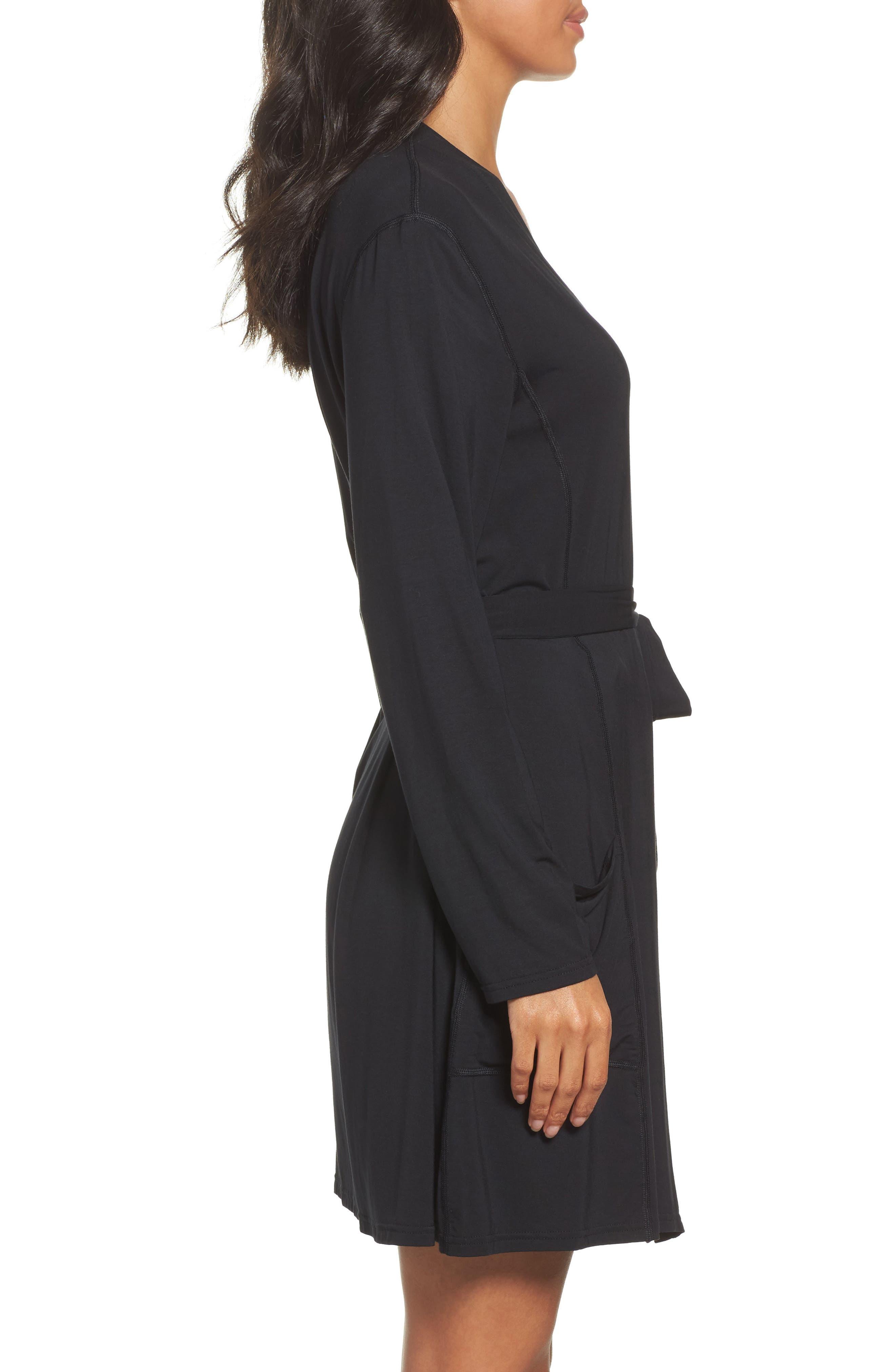 Short Robe,                             Alternate thumbnail 3, color,                             BLACK