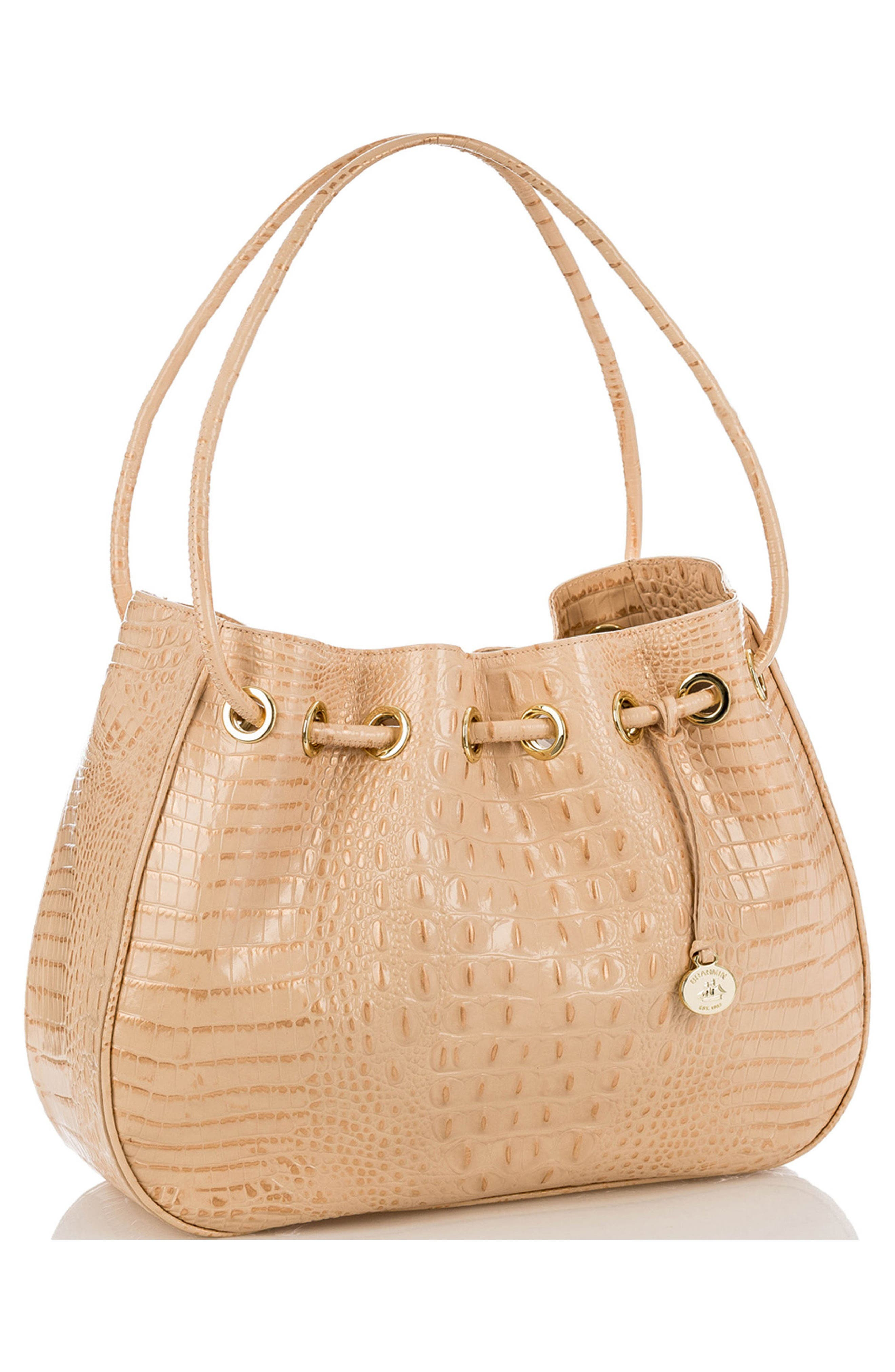 Amy Embossed Leather Drawstring Bucket Bag,                             Alternate thumbnail 8, color,