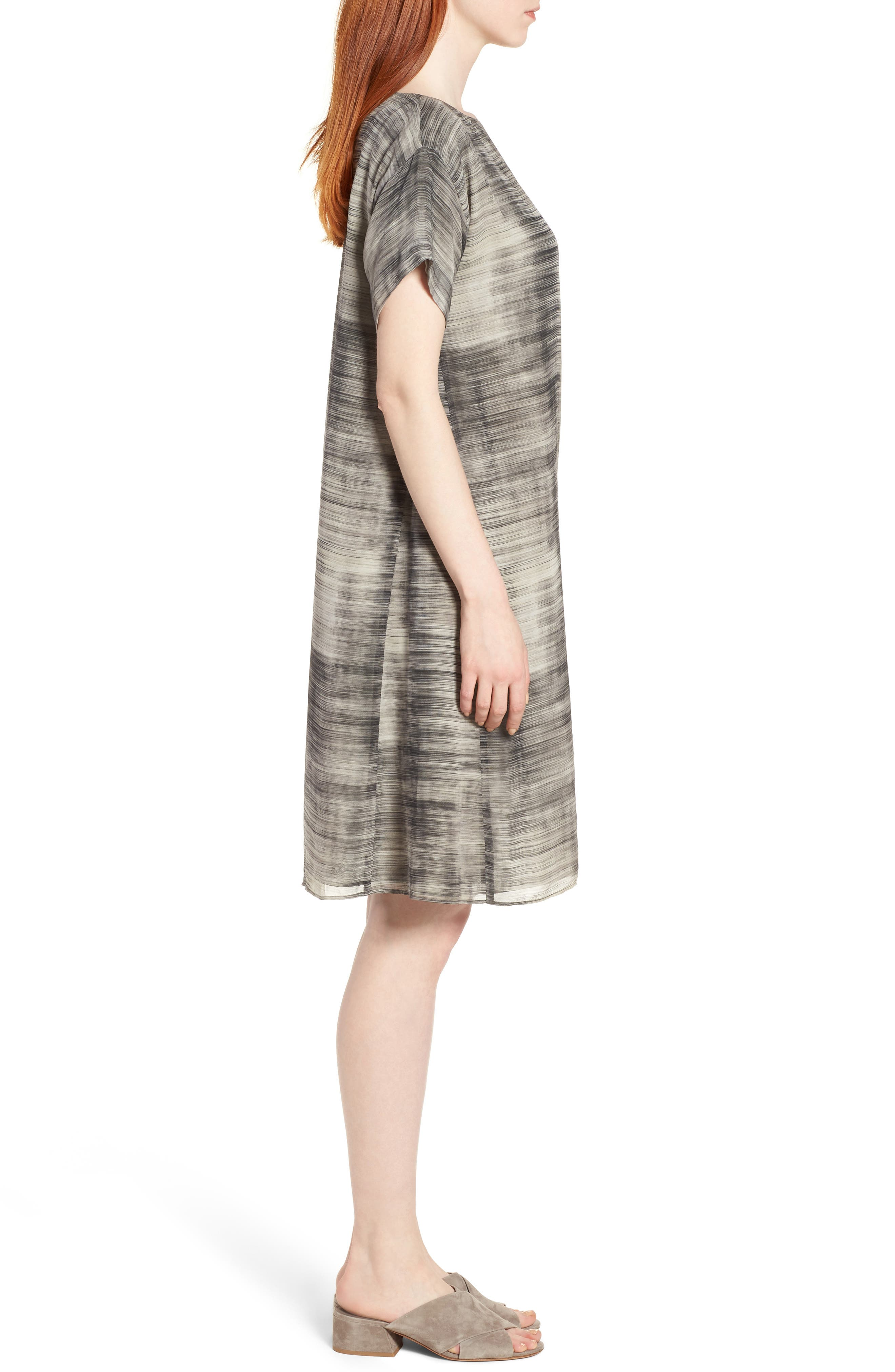 Bateau Neck Silk Shift Dress,                             Alternate thumbnail 3, color,                             068