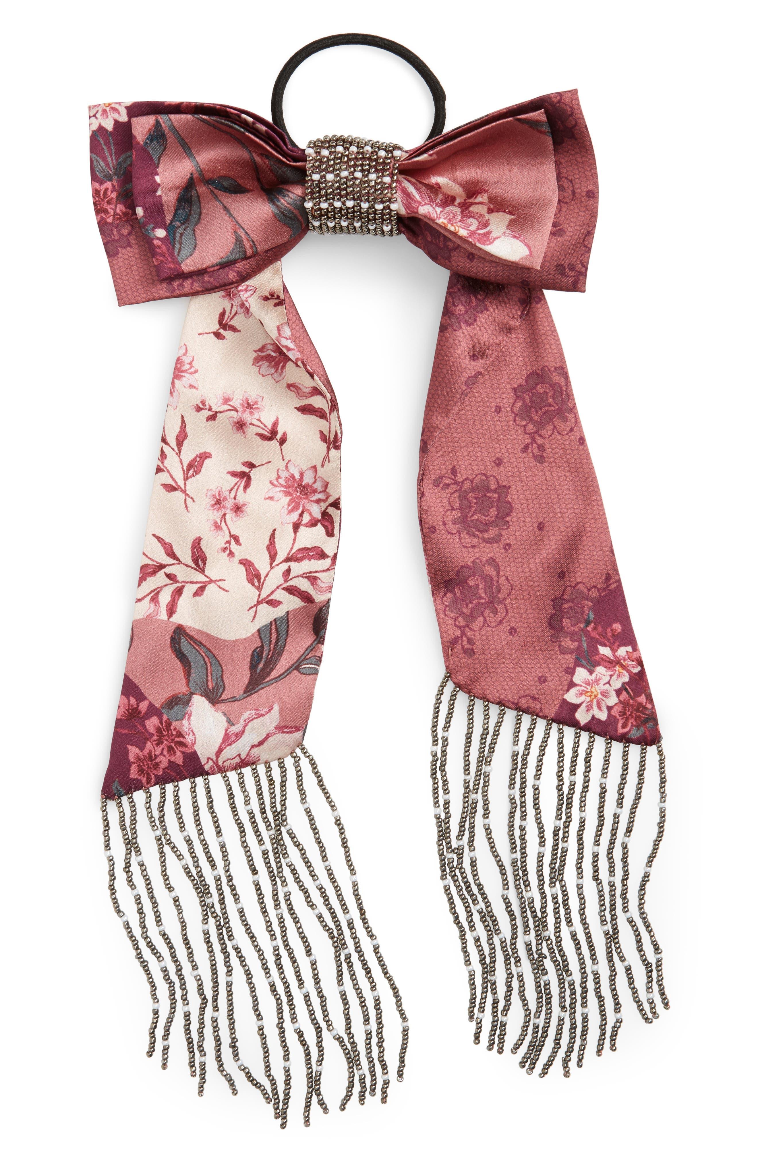 Beaded Double Bow Hair Tie,                             Main thumbnail 1, color,