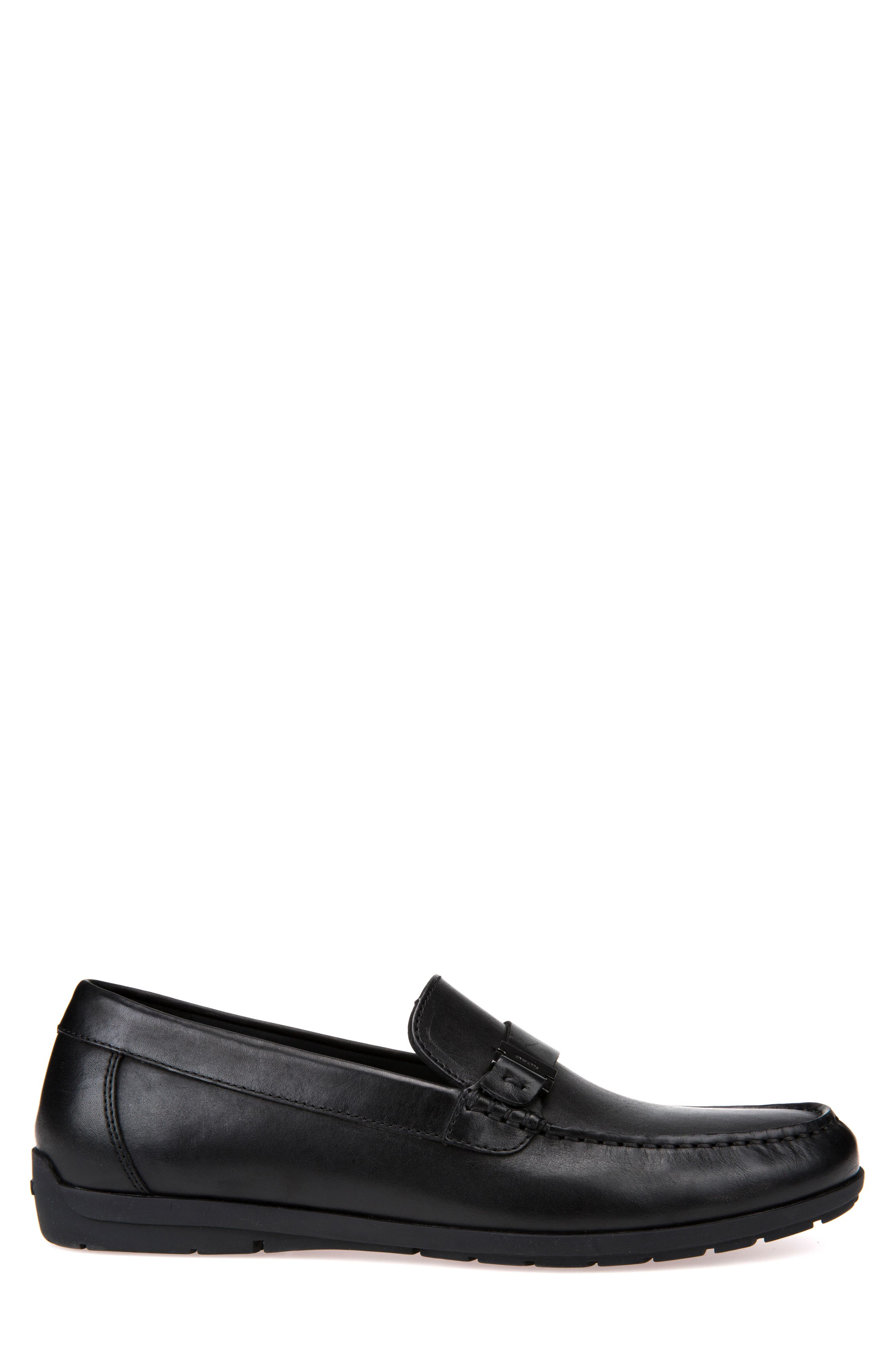 Siron W 1 Moc Toe Loafer,                             Alternate thumbnail 3, color,                             BLACK LEATHER