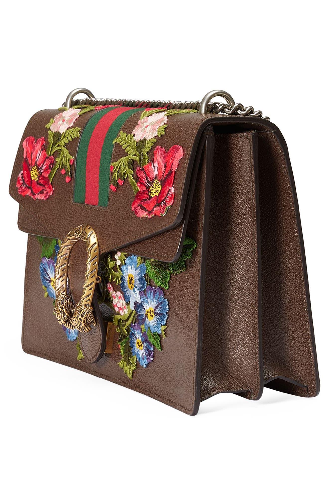 Medium Dionysus Embroidered Leather Shoulder Bag,                             Alternate thumbnail 4, color,                             031