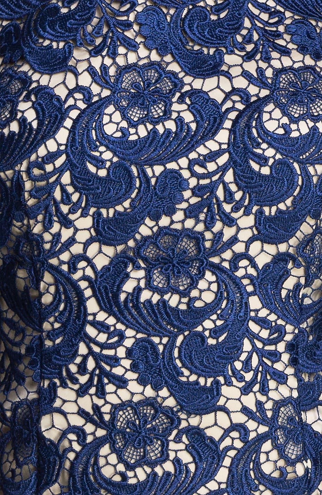 ELIZA J,                             Embroidered Lace Overlay Sheath Dress,                             Alternate thumbnail 5, color,                             410