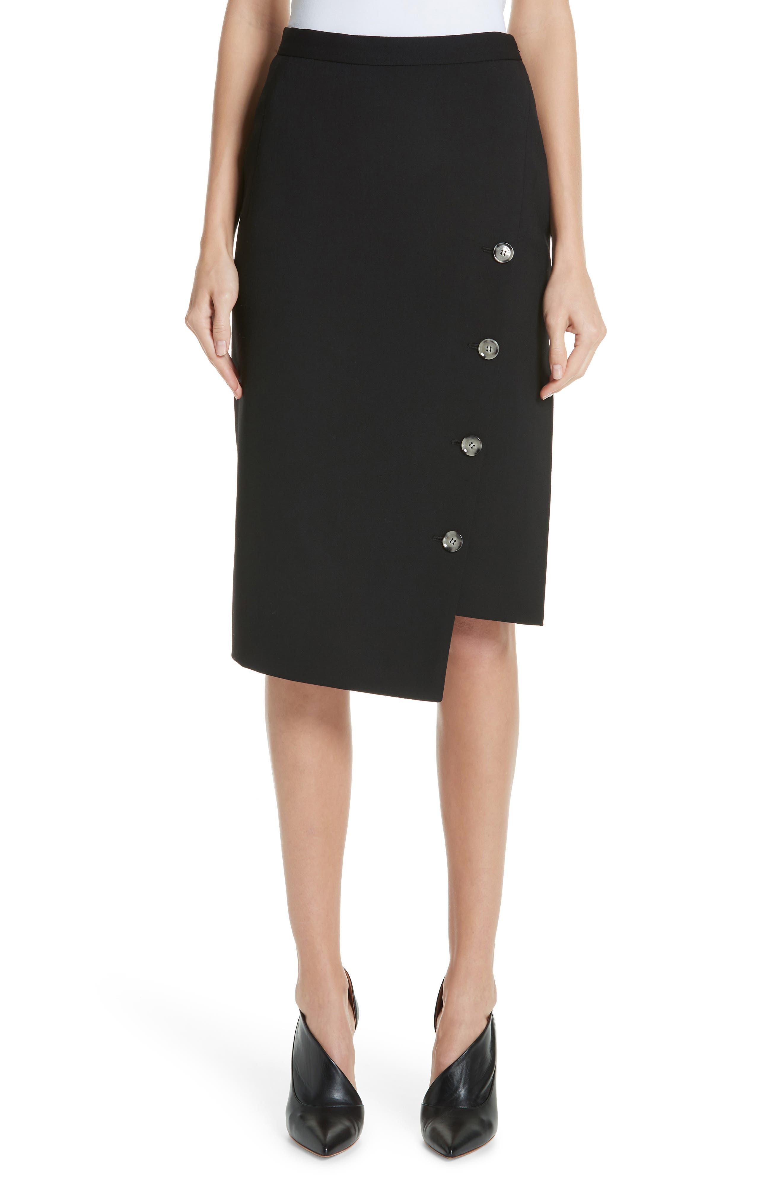 Button Detail Slit Stretch Wool Pencil Skirt,                         Main,                         color, 001 BLACK