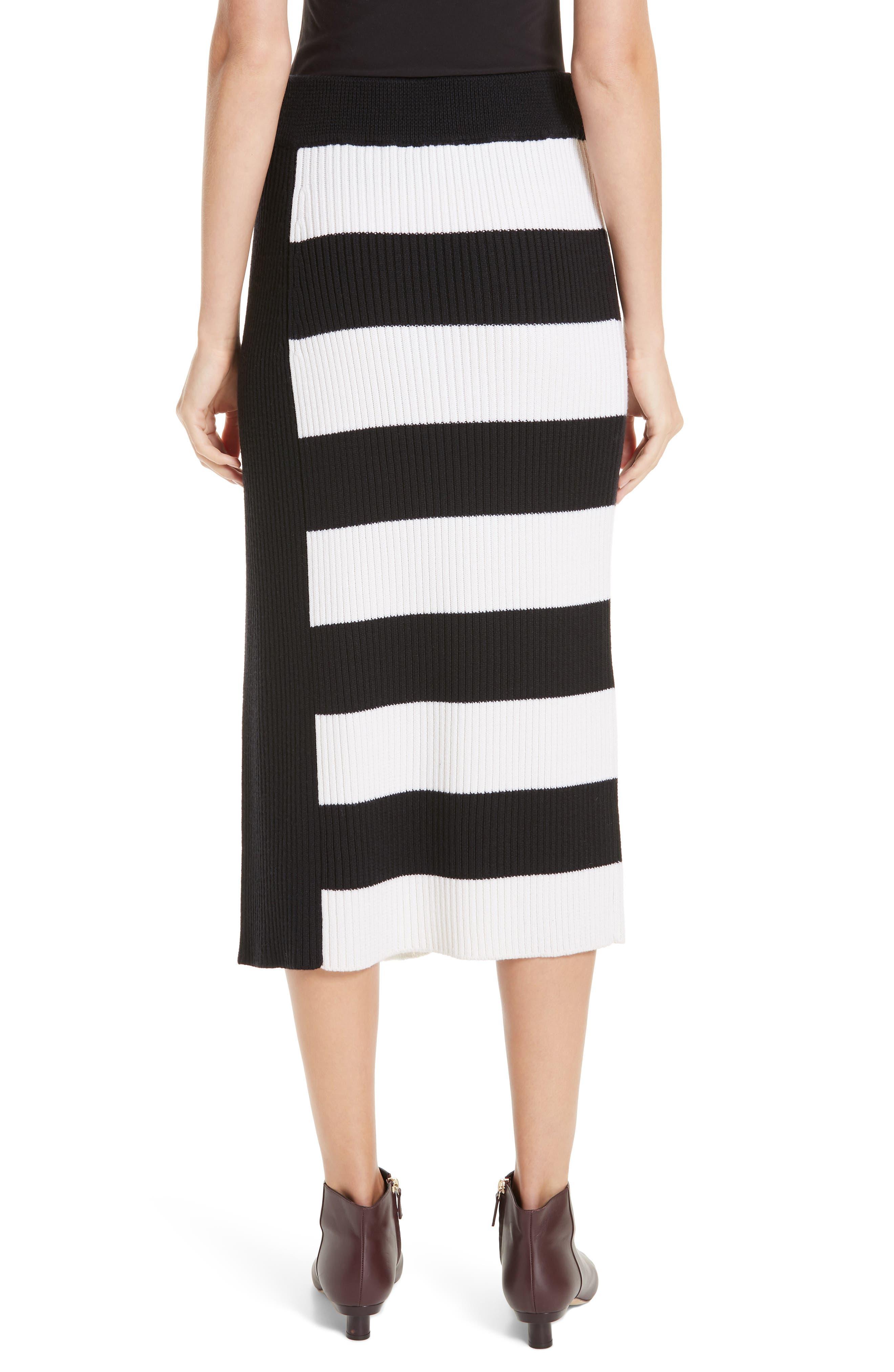 Origami Flap Stripe Midi Skirt,                             Alternate thumbnail 2, color,                             BLACK/ WHITE MULTI