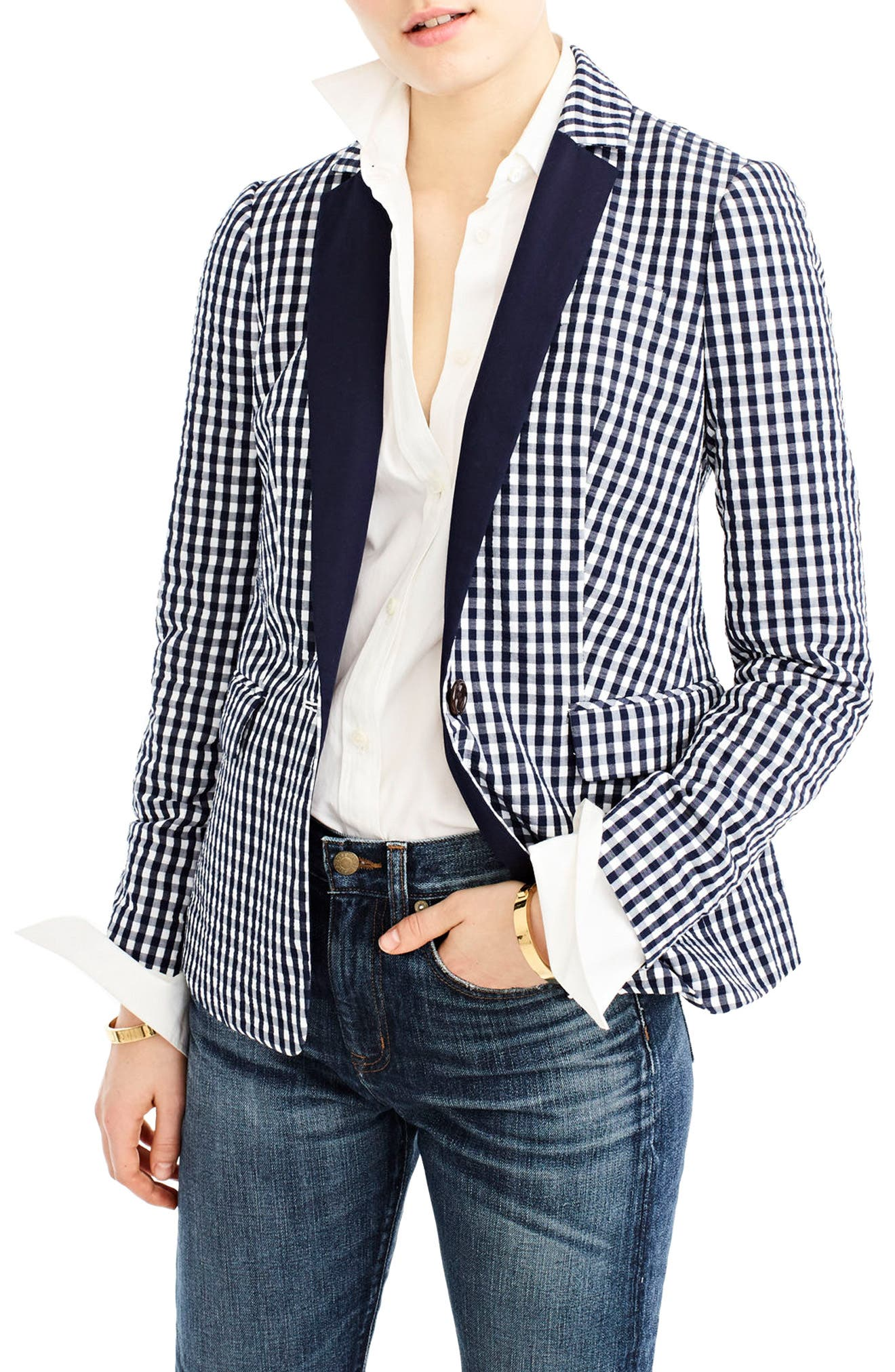 J.CREW,                             Solid Lapel Puckered Gingham Blazer,                             Main thumbnail 1, color,                             400