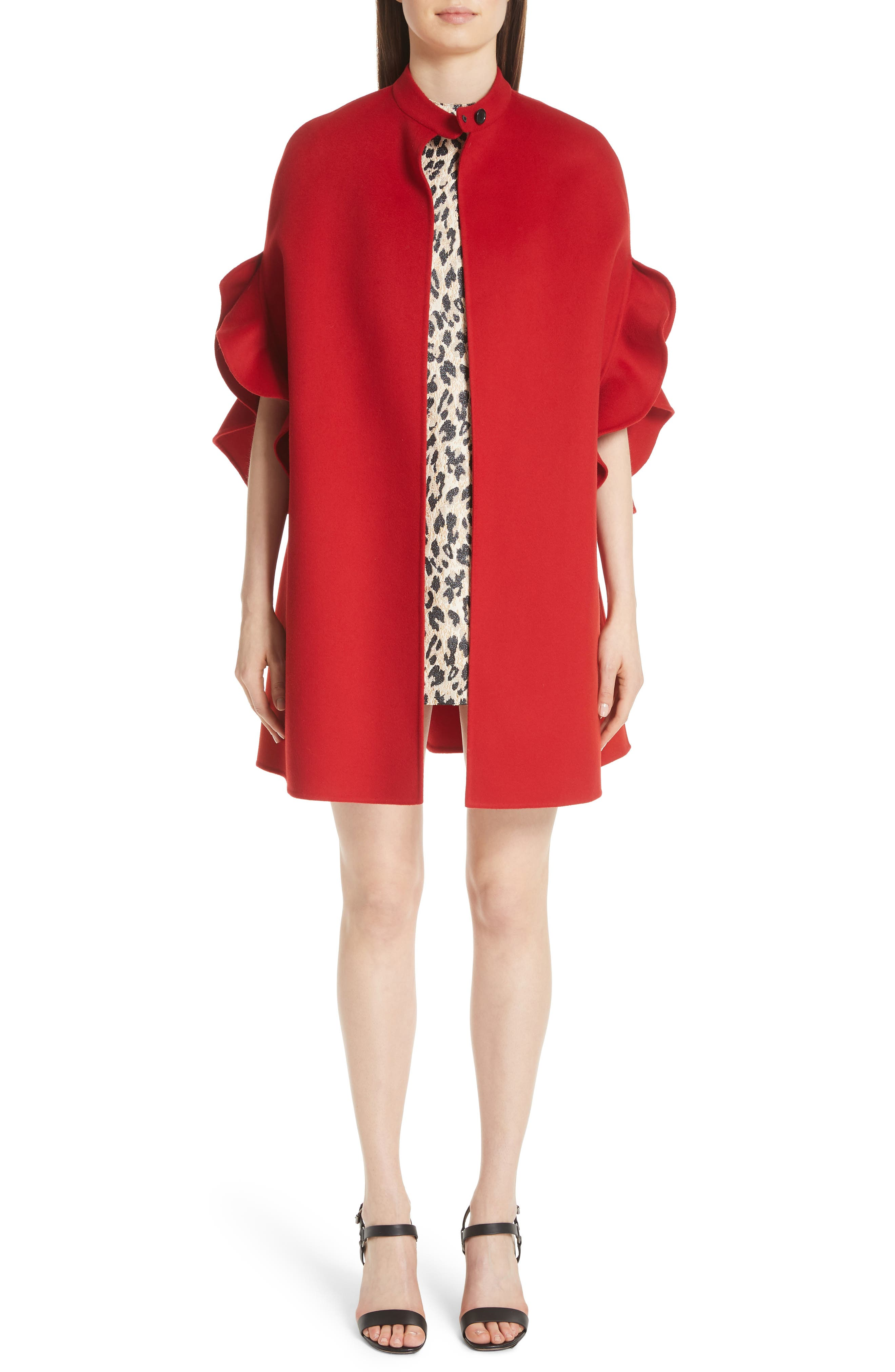 Ruffle Sleeve Compact Wool & Cashmere Cape,                         Main,                         color, RED