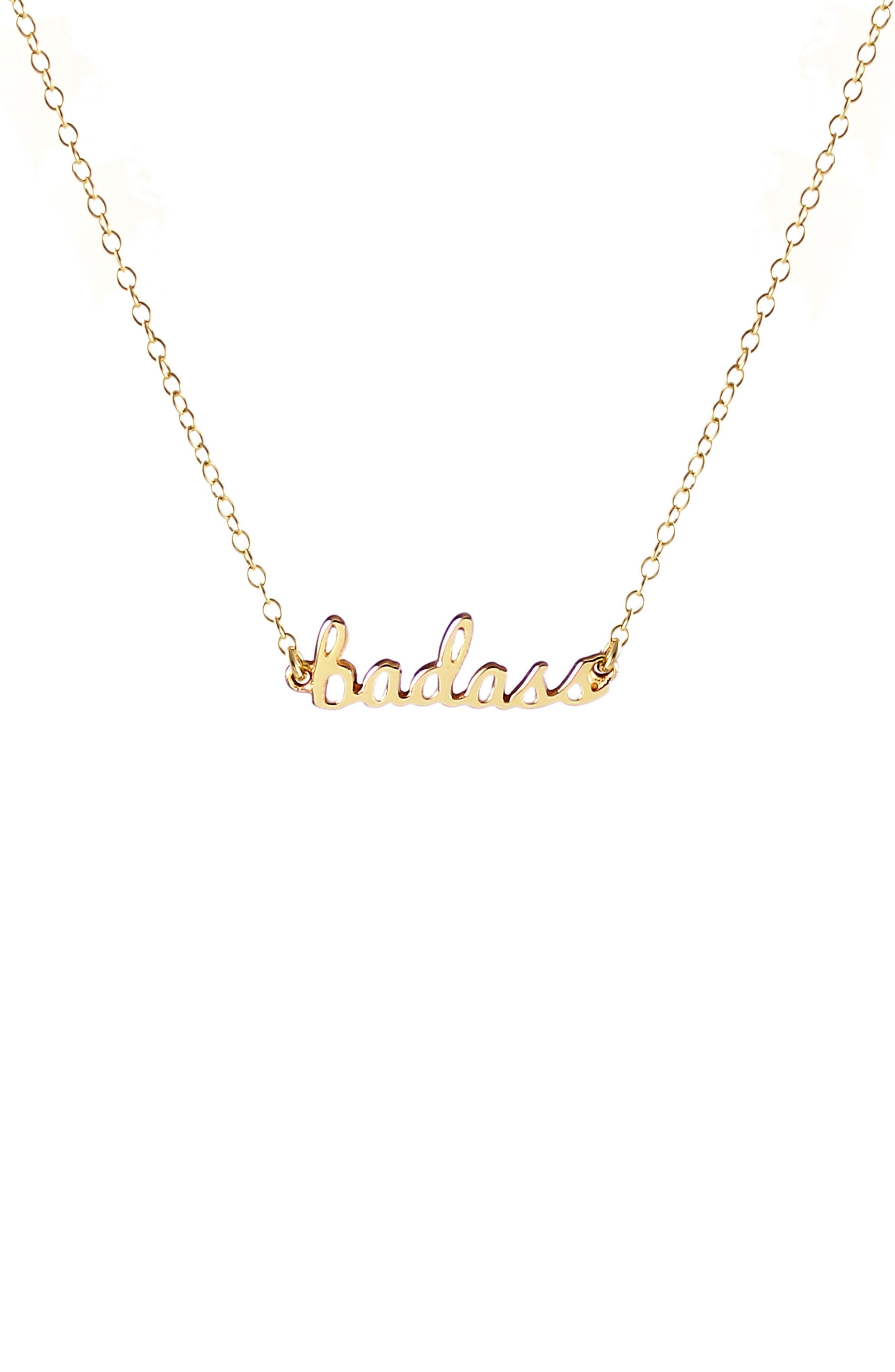 Badass Script Necklace,                         Main,                         color, GOLD