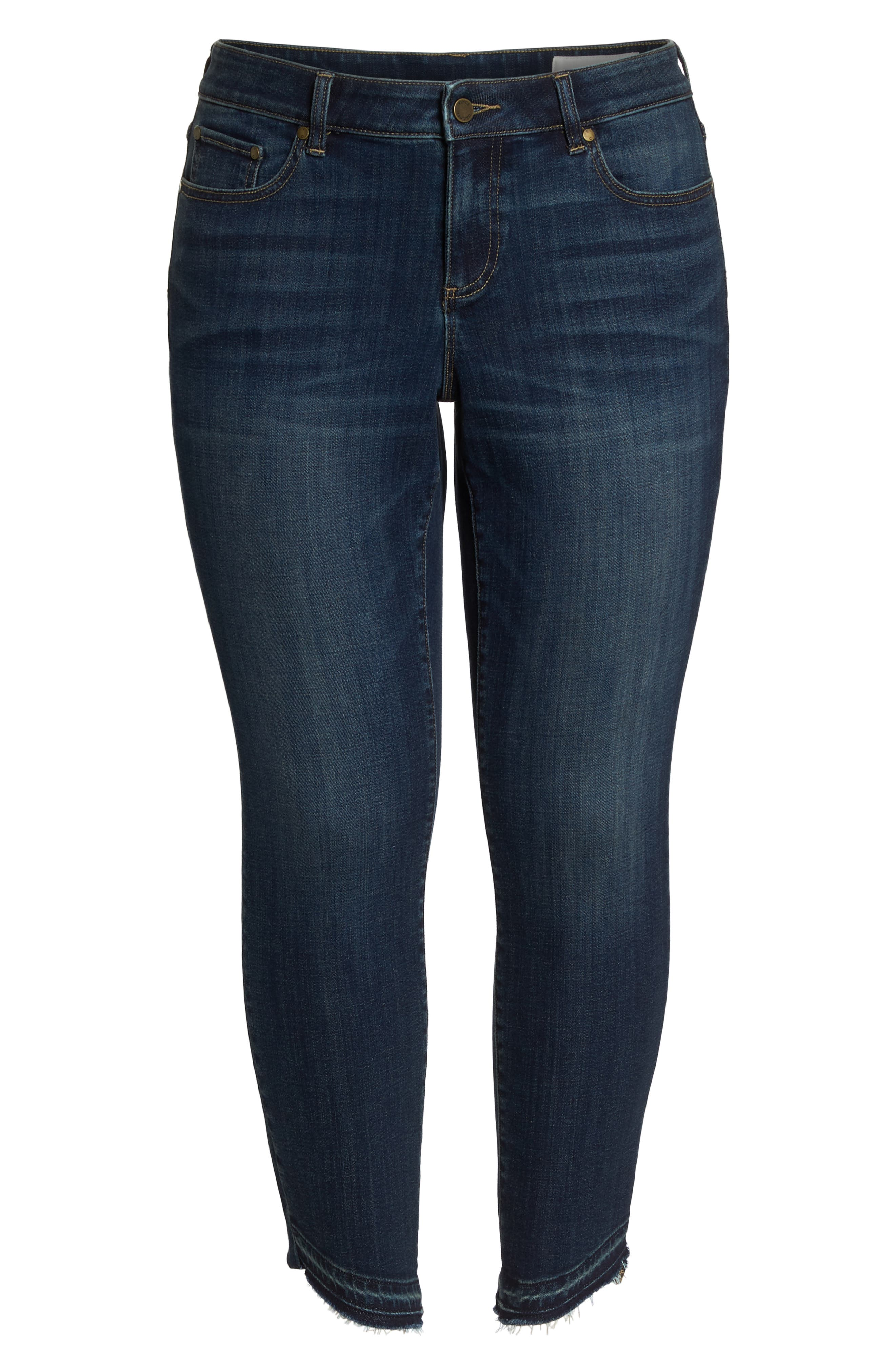 Indigo Curve Hem Skinny Jeans,                             Alternate thumbnail 7, color,                             DARK AUTHENTIC