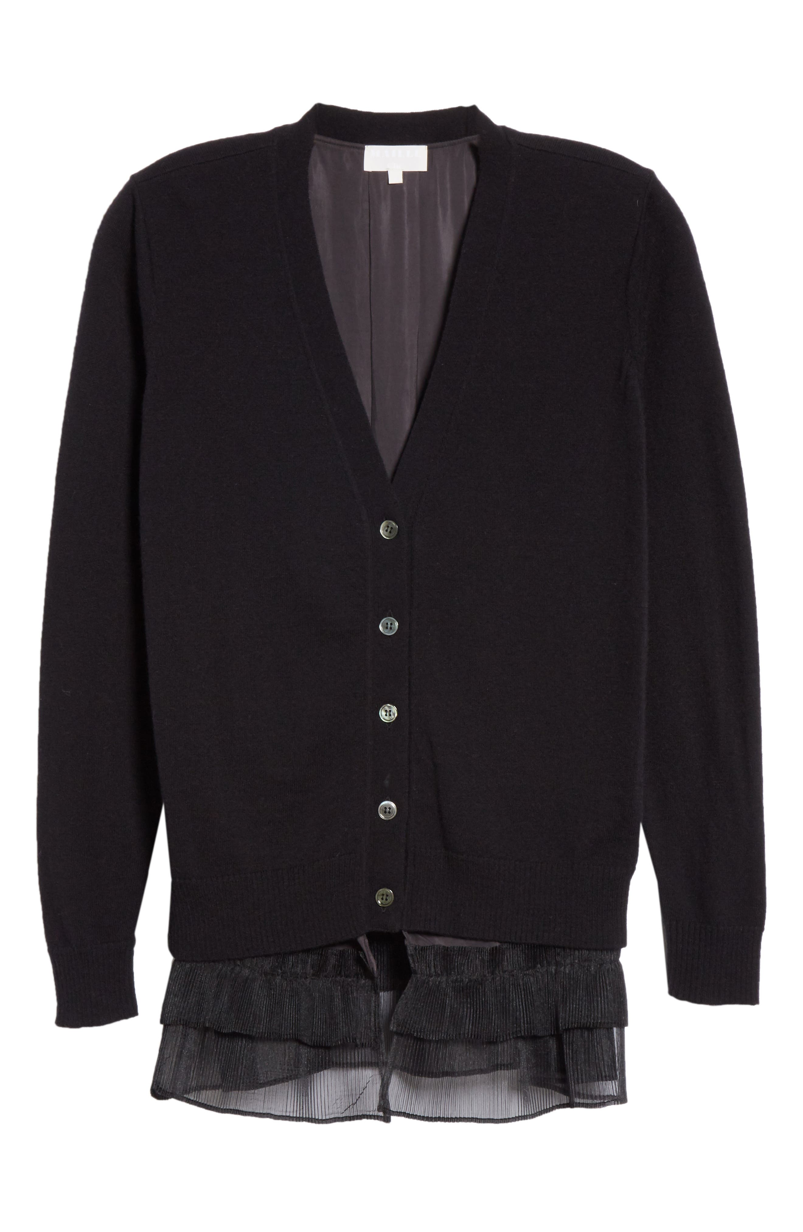 Ruffle Hem Wool Cardigan,                             Alternate thumbnail 6, color,                             BLACK
