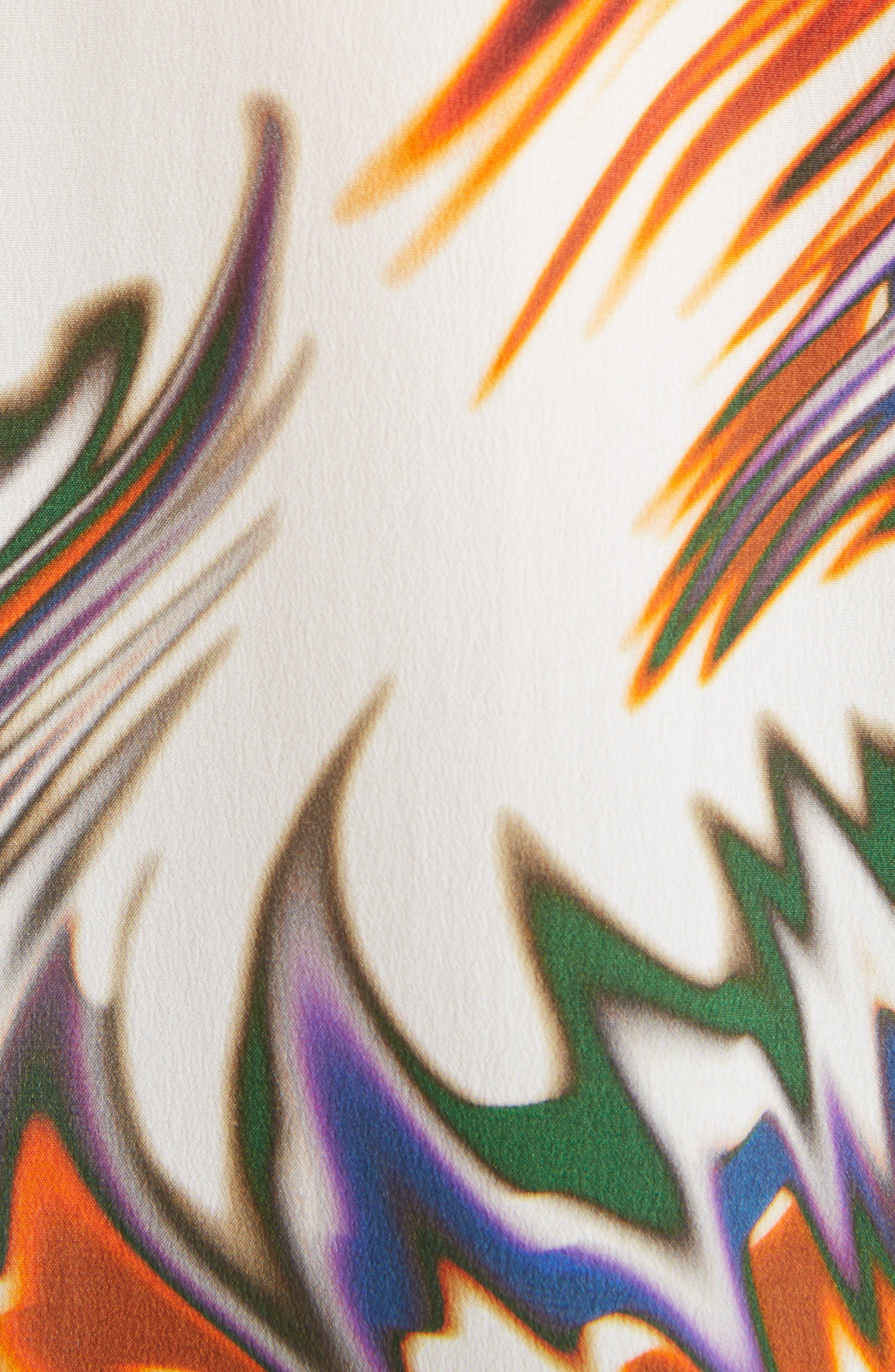 Wave Pattern Silk Blouse,                             Alternate thumbnail 5, color,                             ECRU