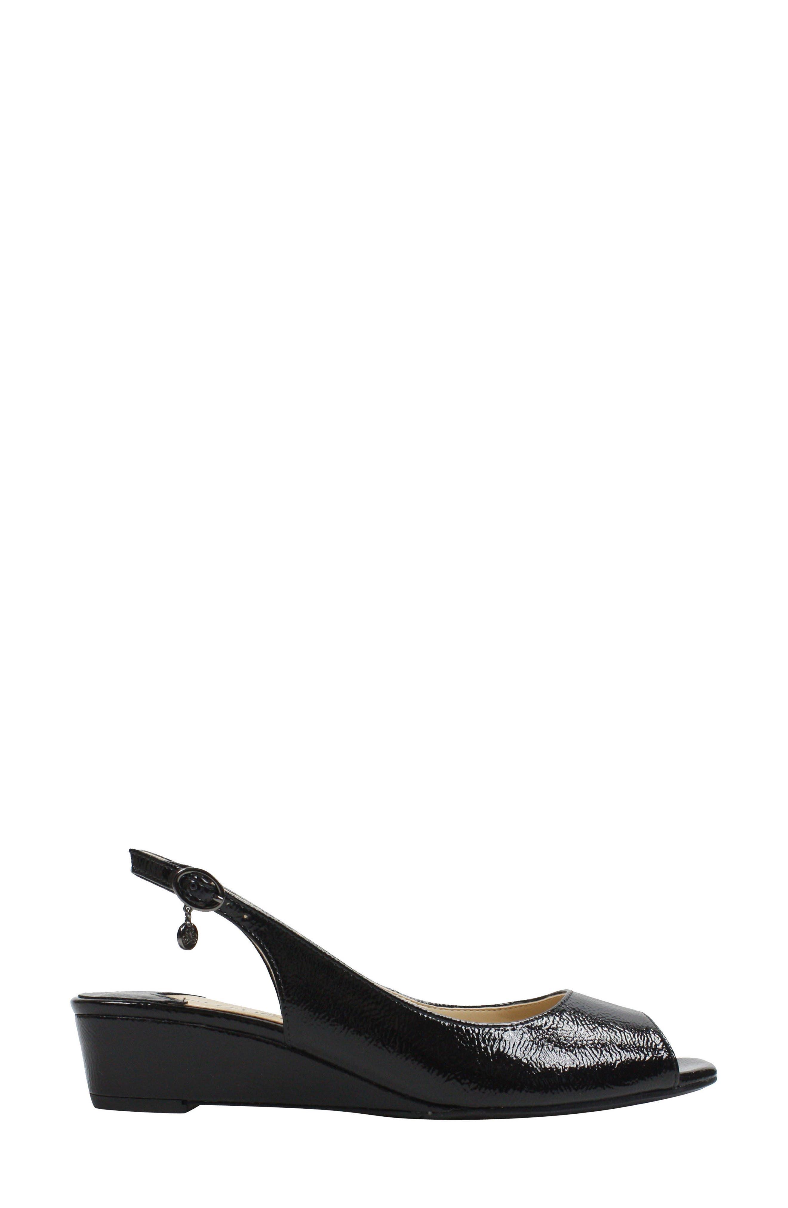 Alivia Slingback Sandal,                             Alternate thumbnail 3, color,                             BLACK CRINKLE FAUX LEATHER