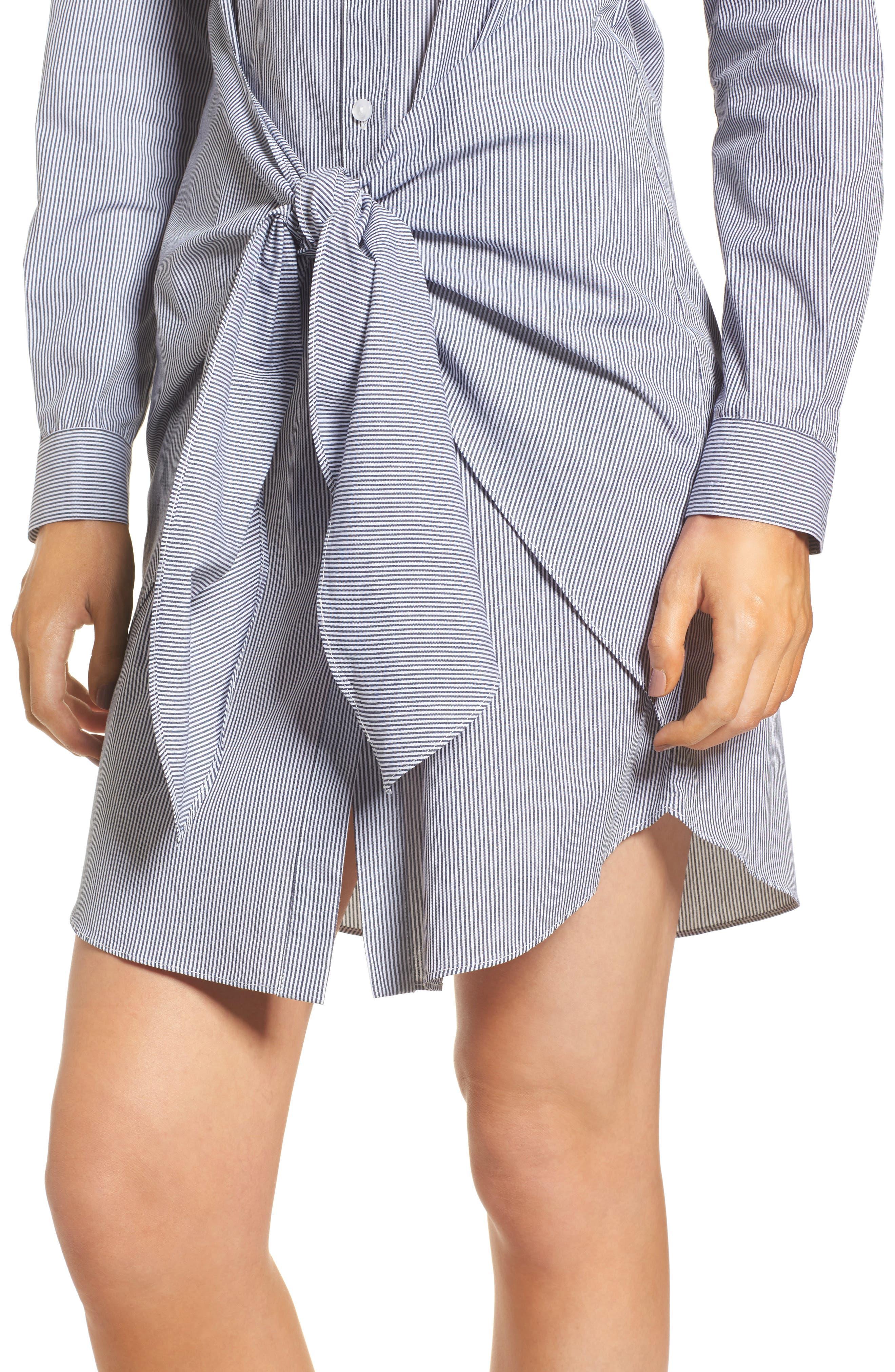 Tie Waist Shirtdress,                             Alternate thumbnail 4, color,                             001