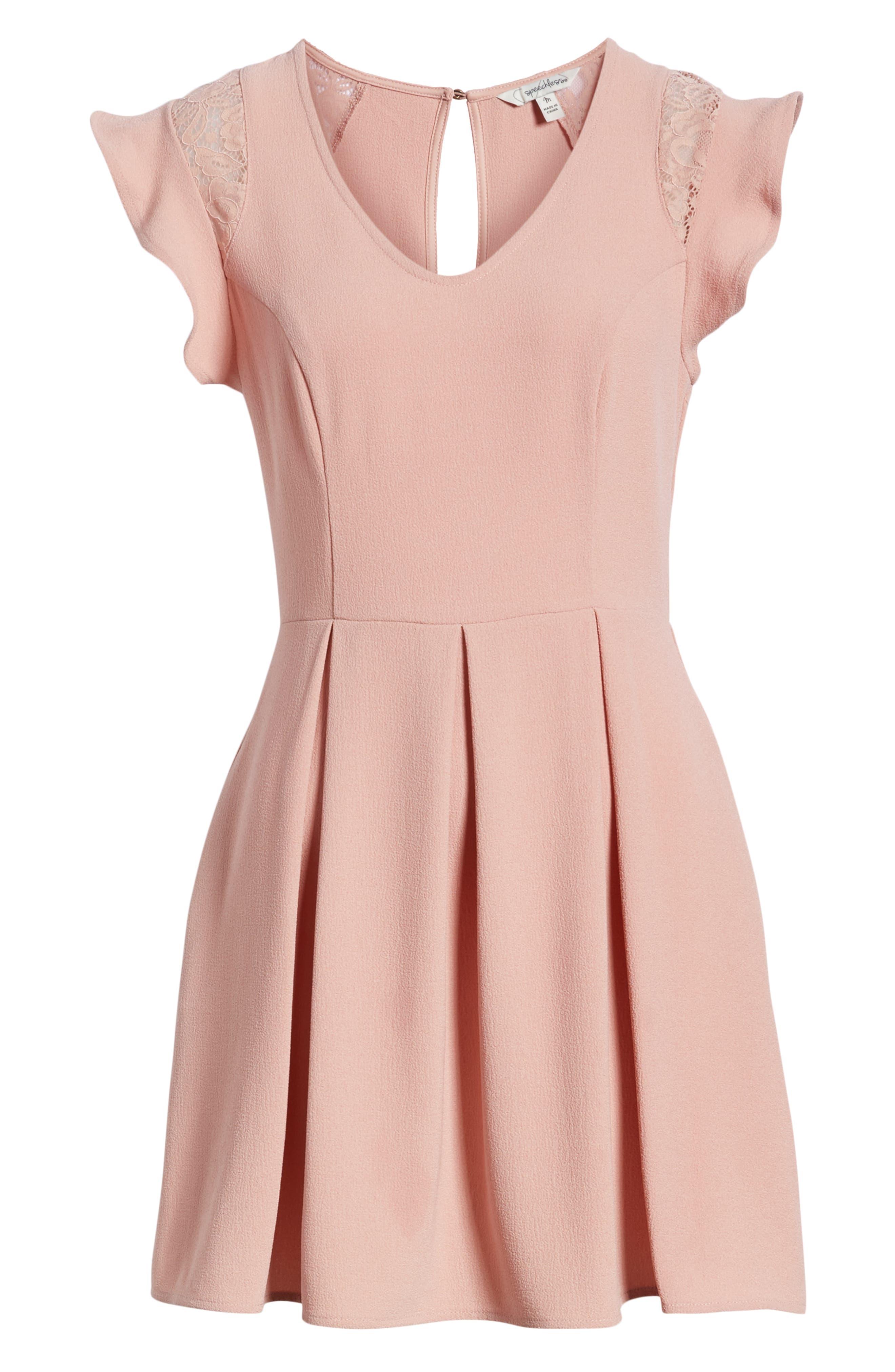 SPEECHLESS,                             Crepe Flutter Sleeve Fit & Flare Dress,                             Alternate thumbnail 7, color,                             ANTIQUE ROSE