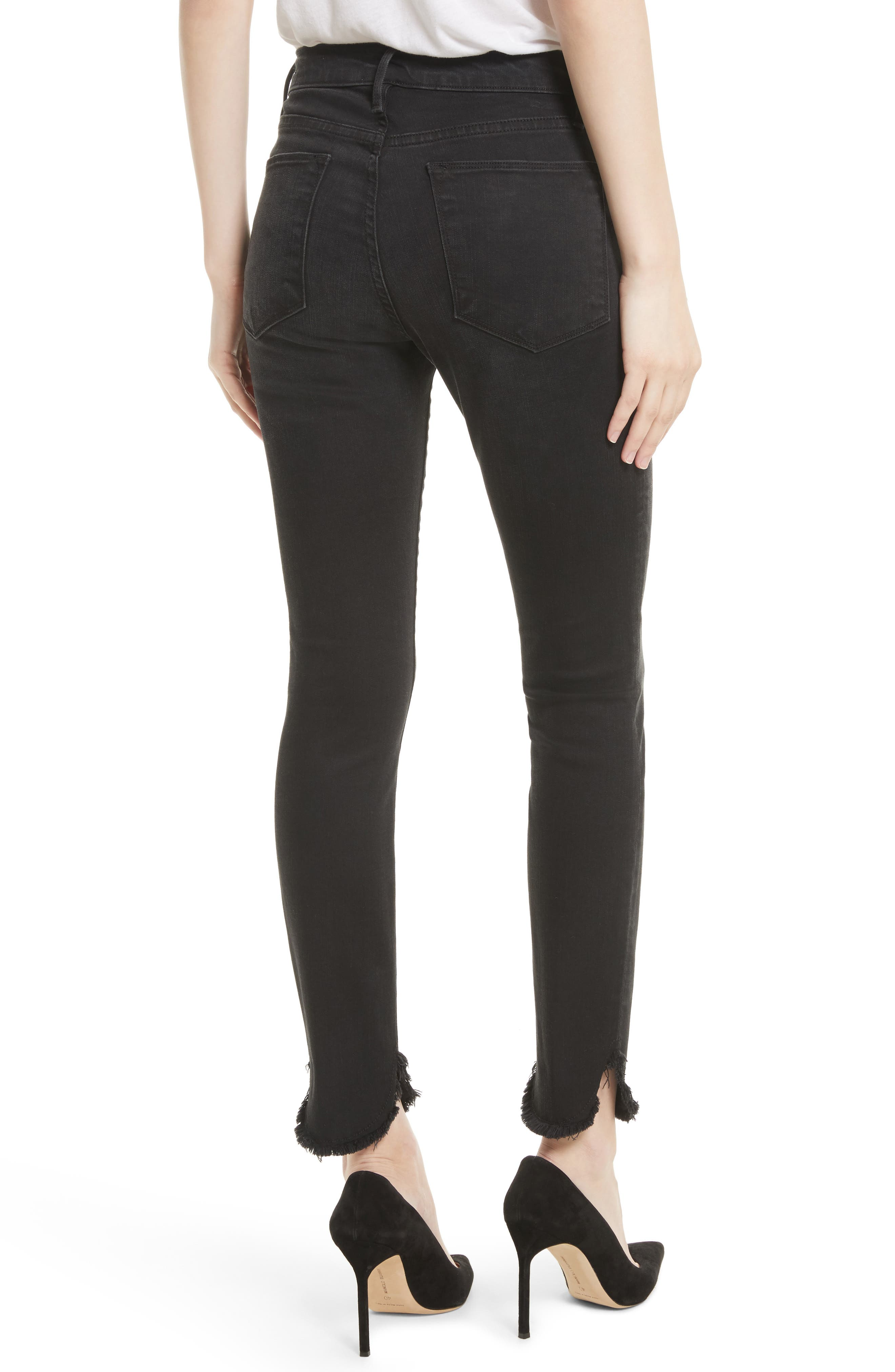 Le High Petal Hem Skinny Jeans,                             Alternate thumbnail 2, color,                             001