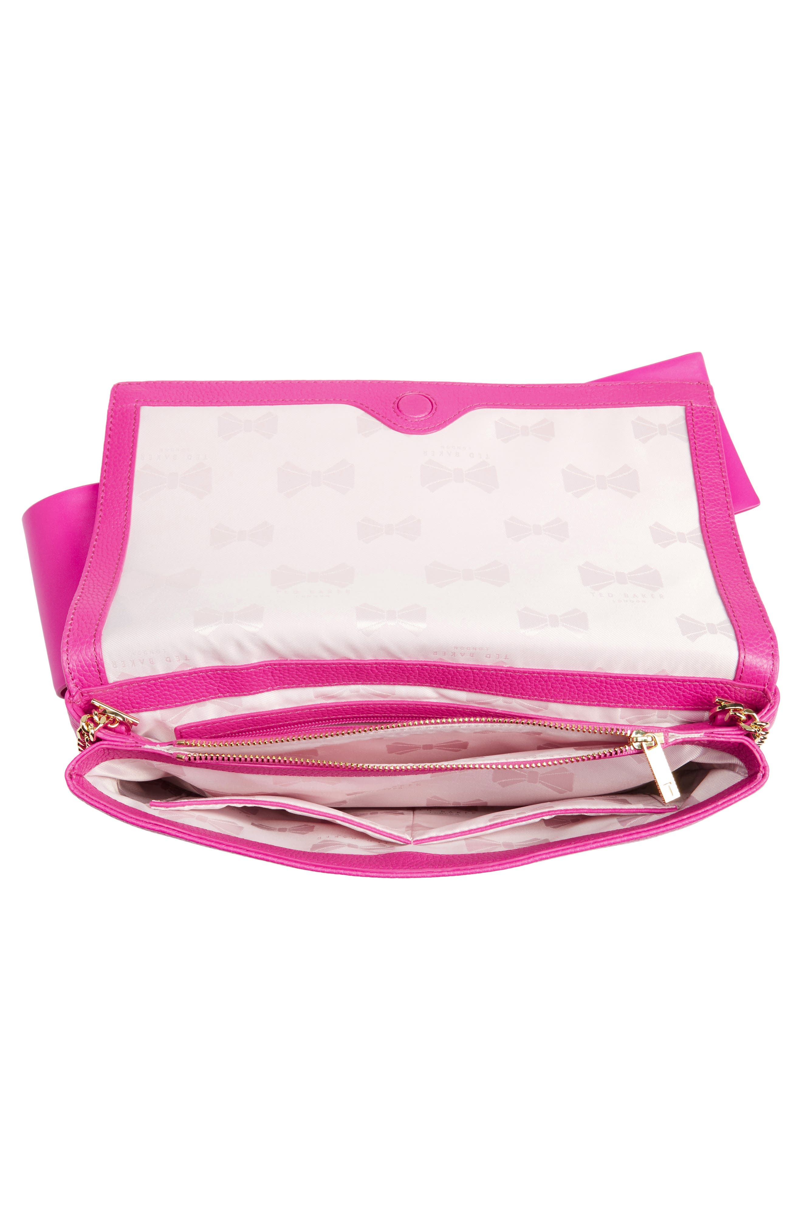 Knotted Bow Leather Clutch,                             Alternate thumbnail 18, color,