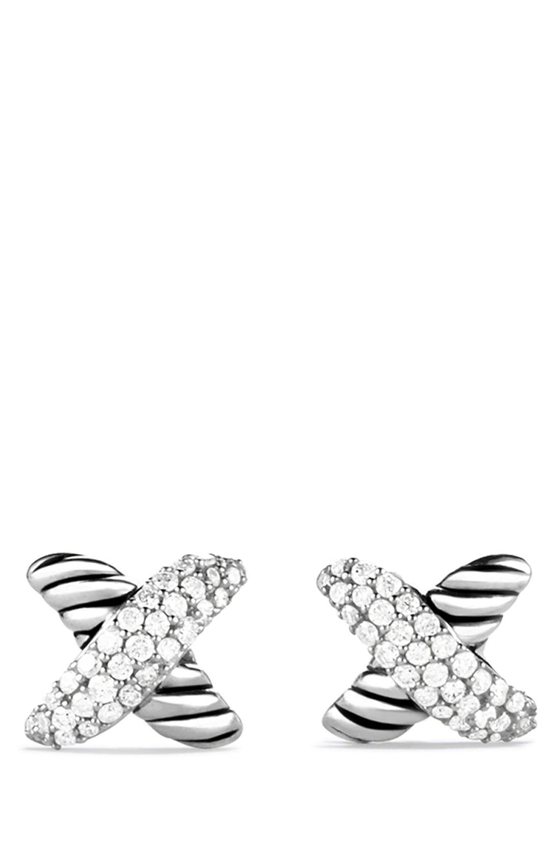 'X' Earrings with Diamonds,                             Alternate thumbnail 3, color,                             DIAMOND