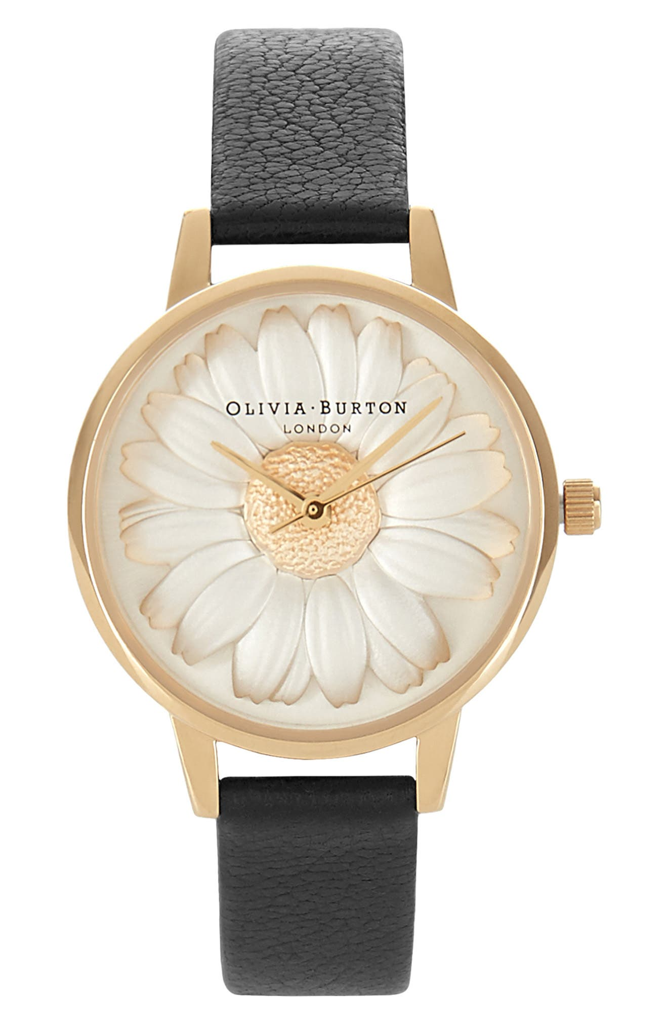 3D Daisy Leather Strap Watch, 30mm,                             Alternate thumbnail 6, color,                             BLACK/ GOLD