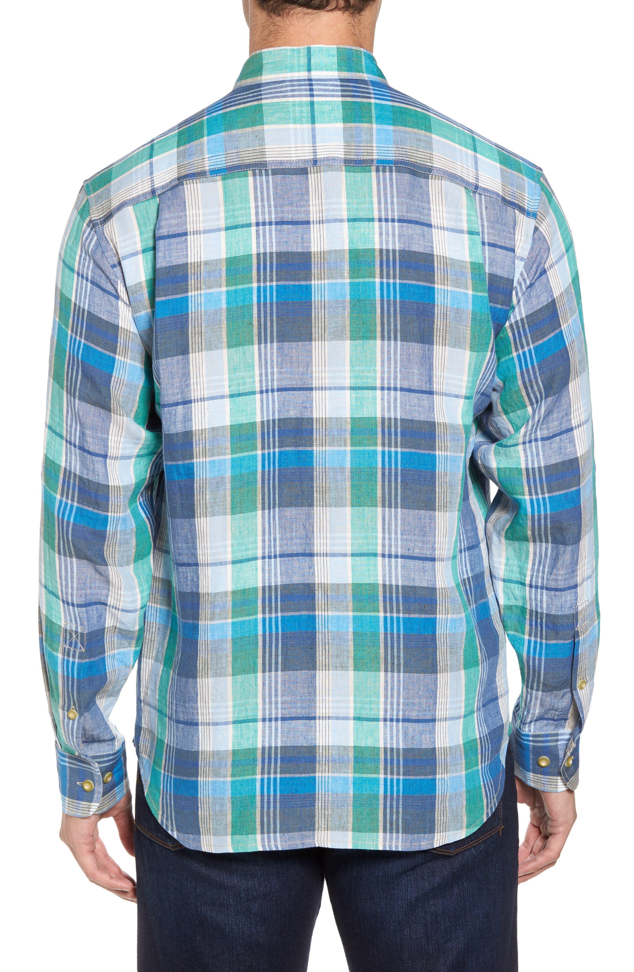 Vero Beach Madras Plaid Linen Sport Shirt,                             Alternate thumbnail 2, color,                             300