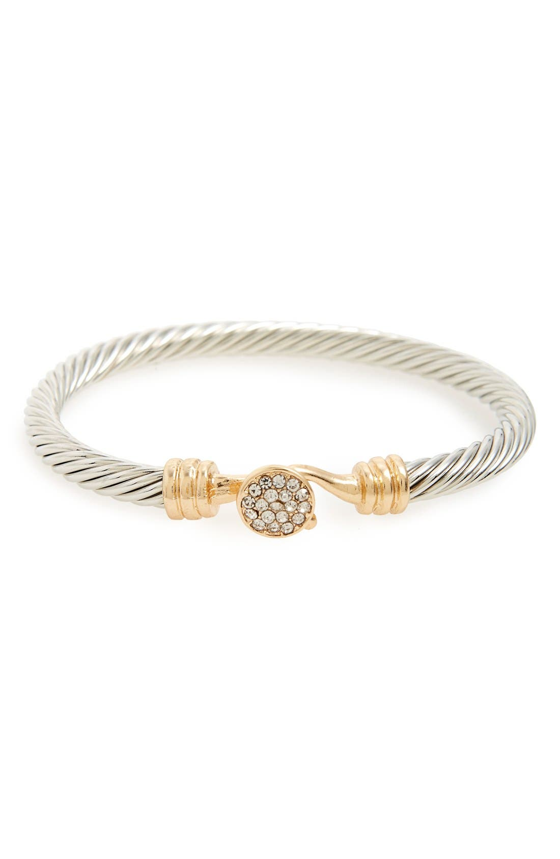 Pavé Disc Twist Bangle, Main, color, 710