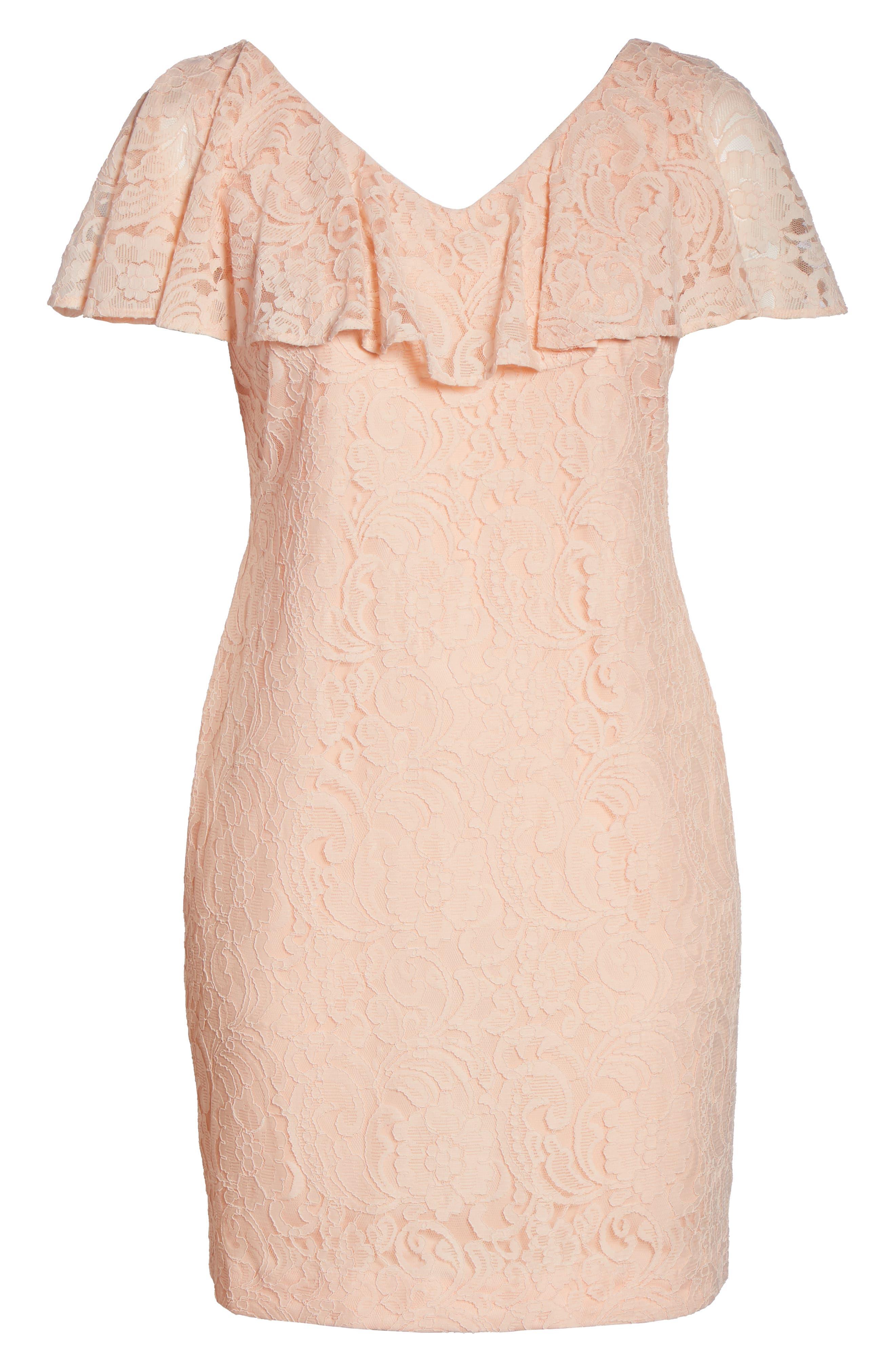 Lace Sheath Dress,                             Alternate thumbnail 8, color,                             650
