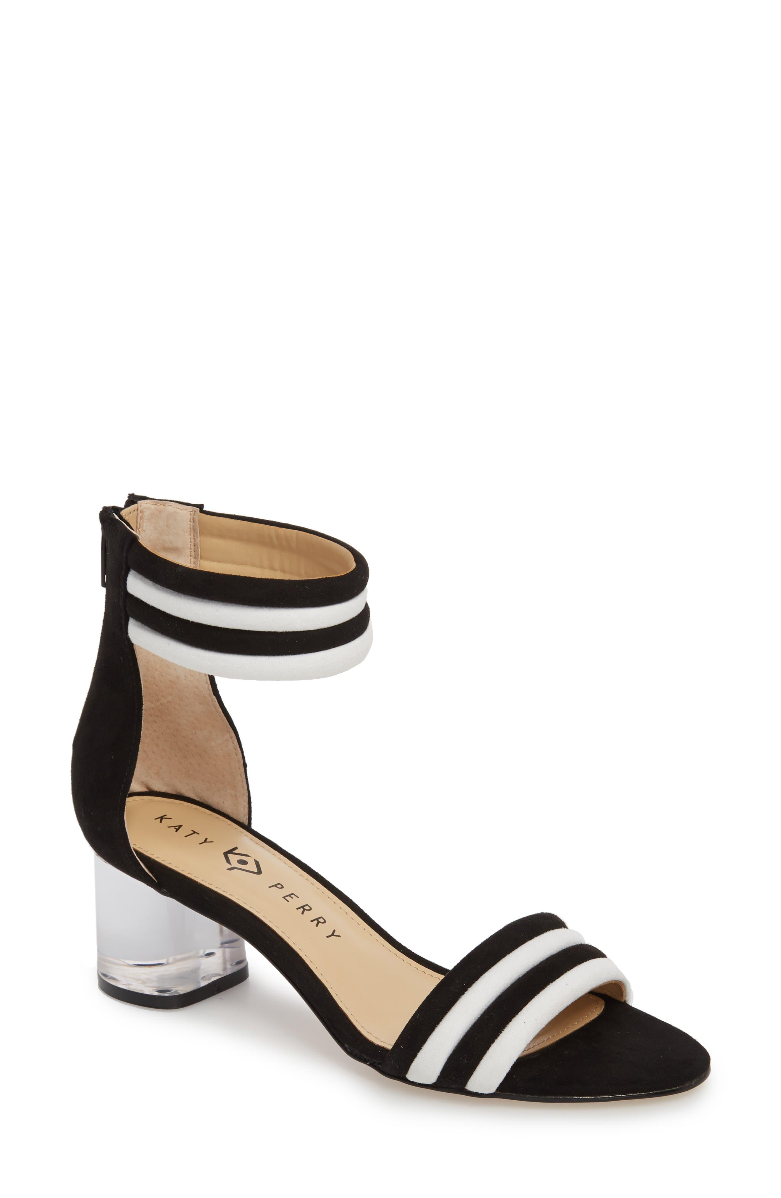 Tube Strap Sandal,                         Main,                         color, BLACK SUEDE