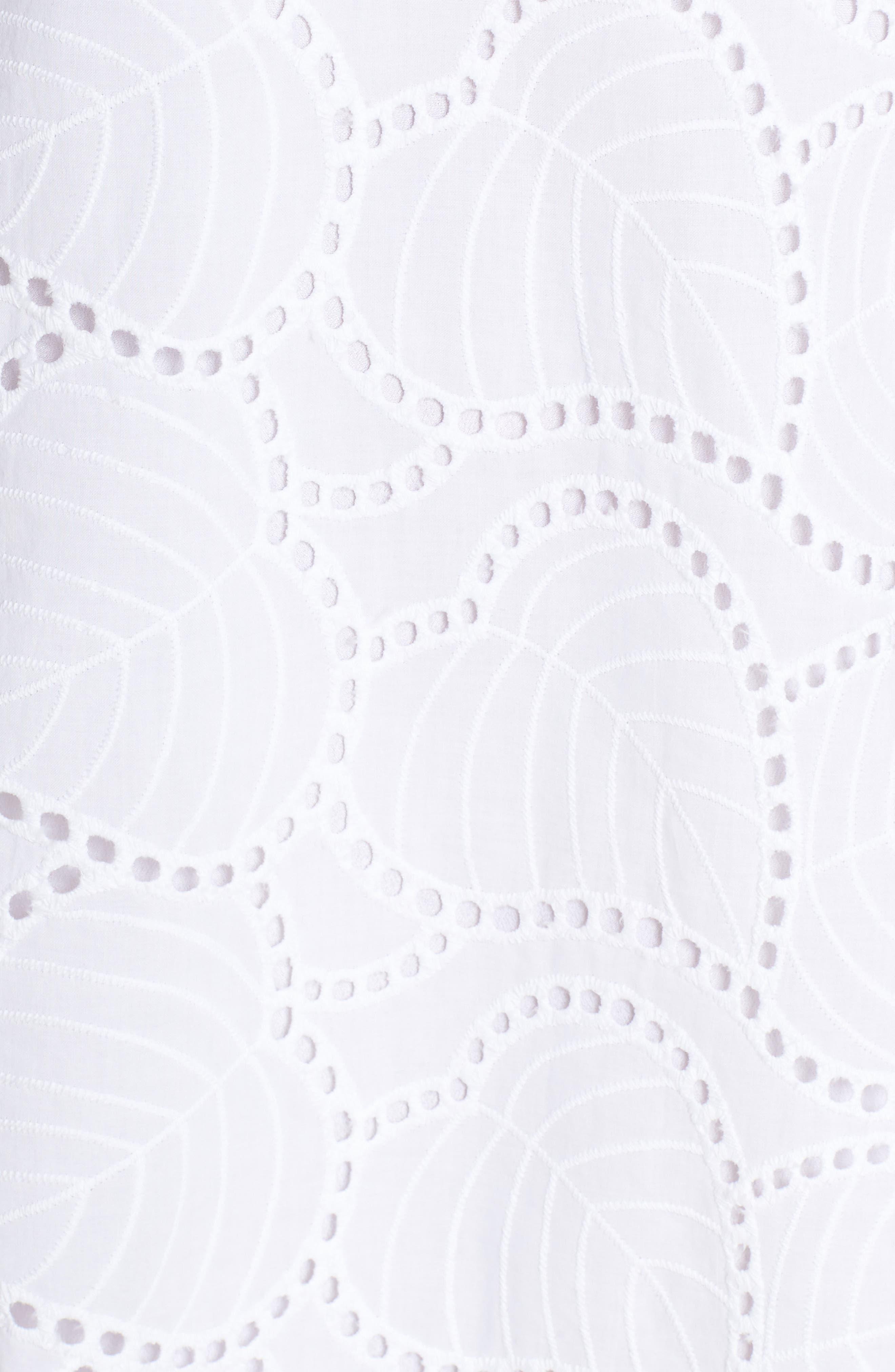 Astara Cotton Eyelet Dress,                             Alternate thumbnail 6, color,                             RESORT WHITE LEAF EYELET