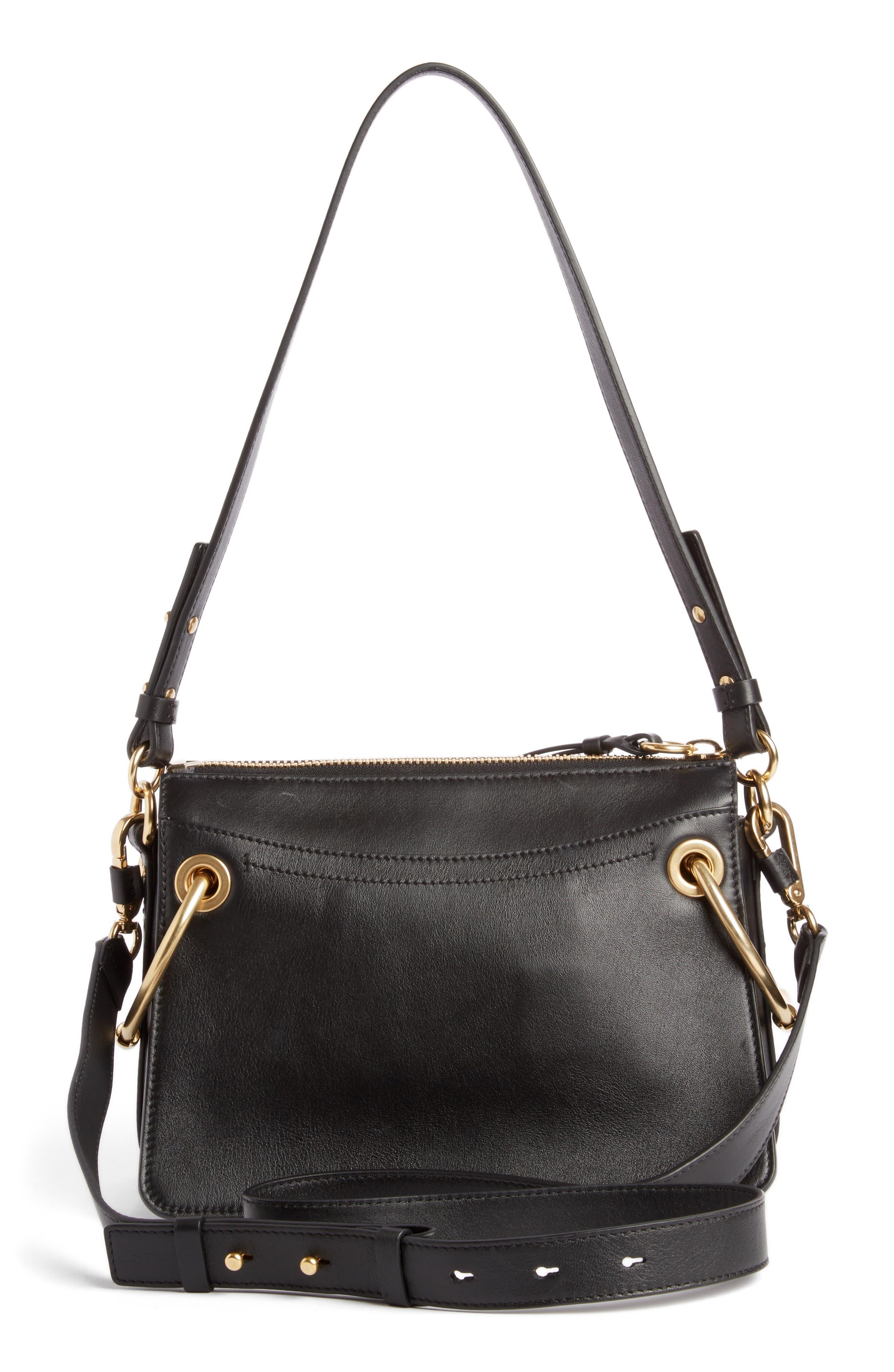 Small Roy Leather Shoulder Bag,                             Alternate thumbnail 4, color,                             BLACK