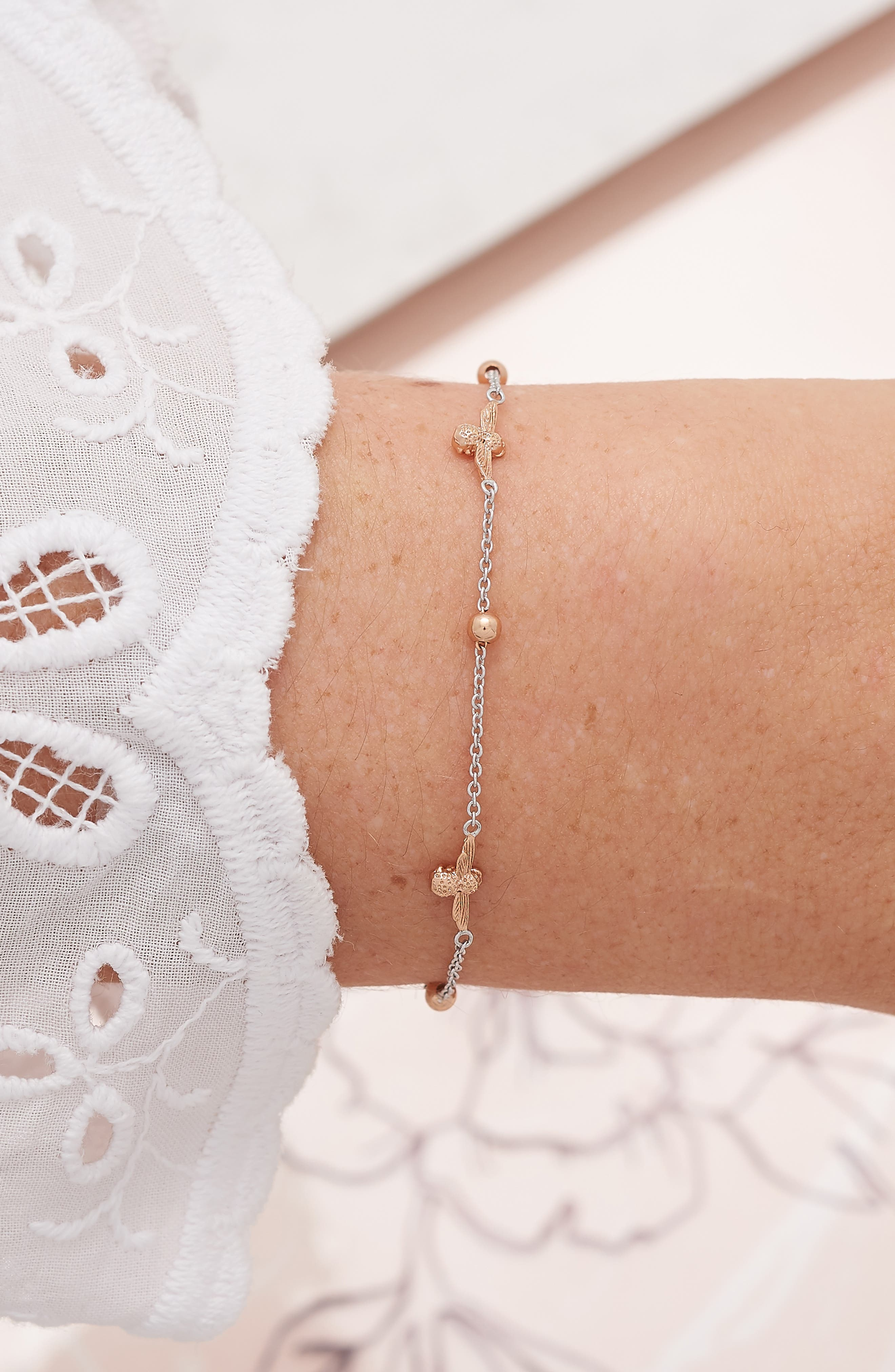 Queen Bee Ball Chain Bracelet,                             Alternate thumbnail 2, color,                             SILVER/ ROSE GOLD