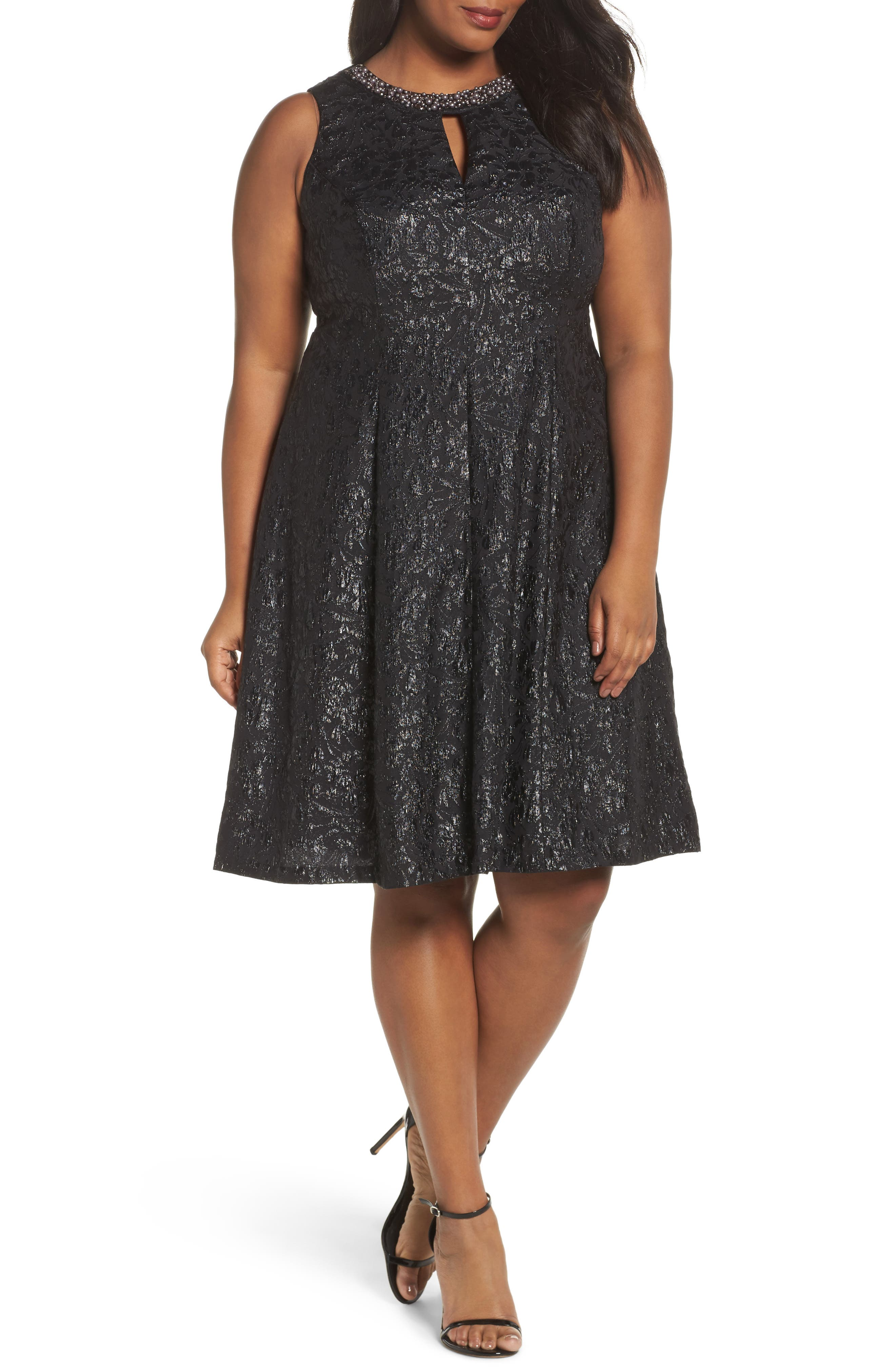 Beaded Neck Fit & Flare Dress,                         Main,                         color, BLACK